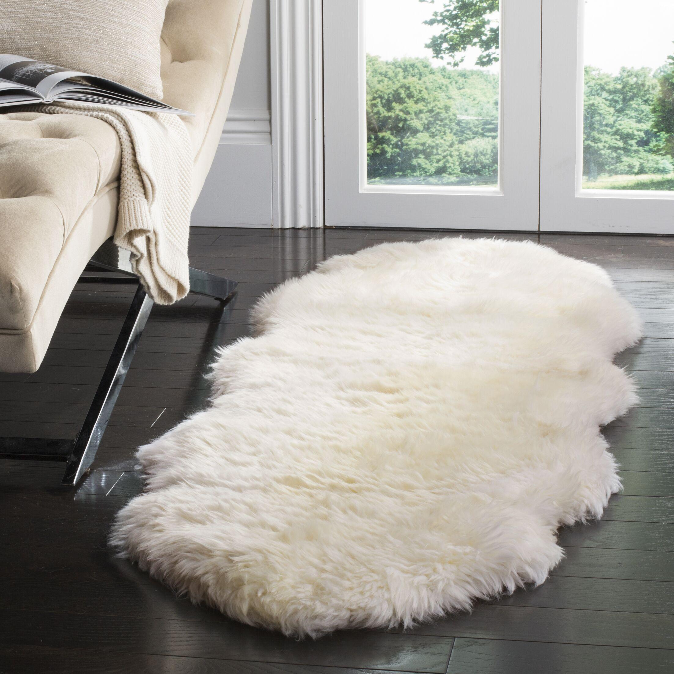 Allison Hand-Woven Faux Sheepskin White Area Rug Rug Size: Sheepskin 2' x 6'