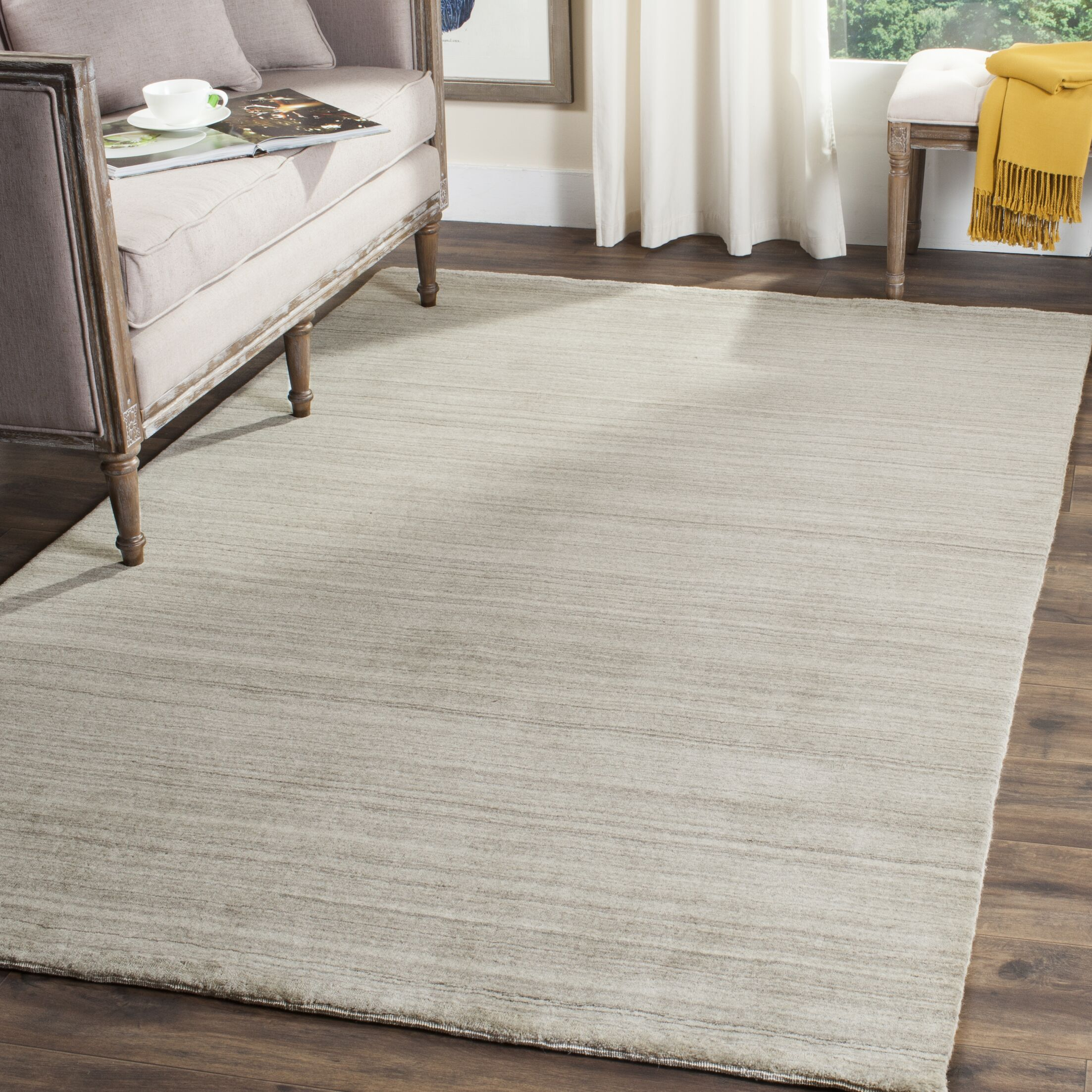 Aghancrossy Hand-Loomed Stone Area Rug Rug Size: Rectangle 6' x 9'