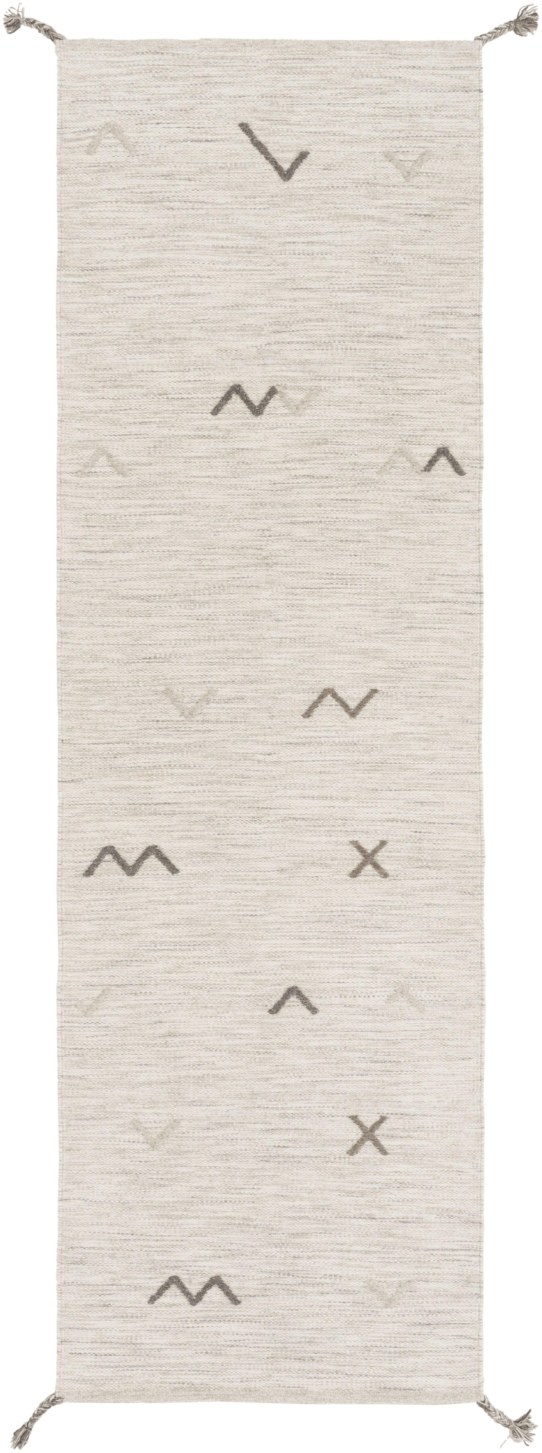 Danise Hand-Woven Wool Light Gray Area Rug Rug Size: Runner 2'6
