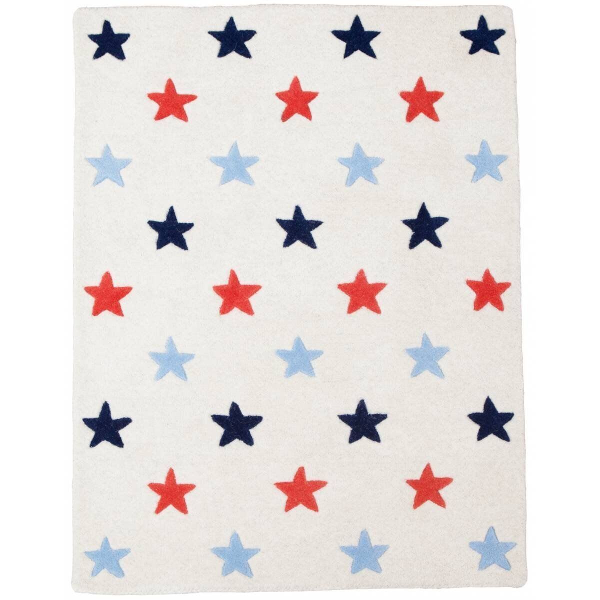 Stars Hand-Tufted Red/Blue Kids Rug