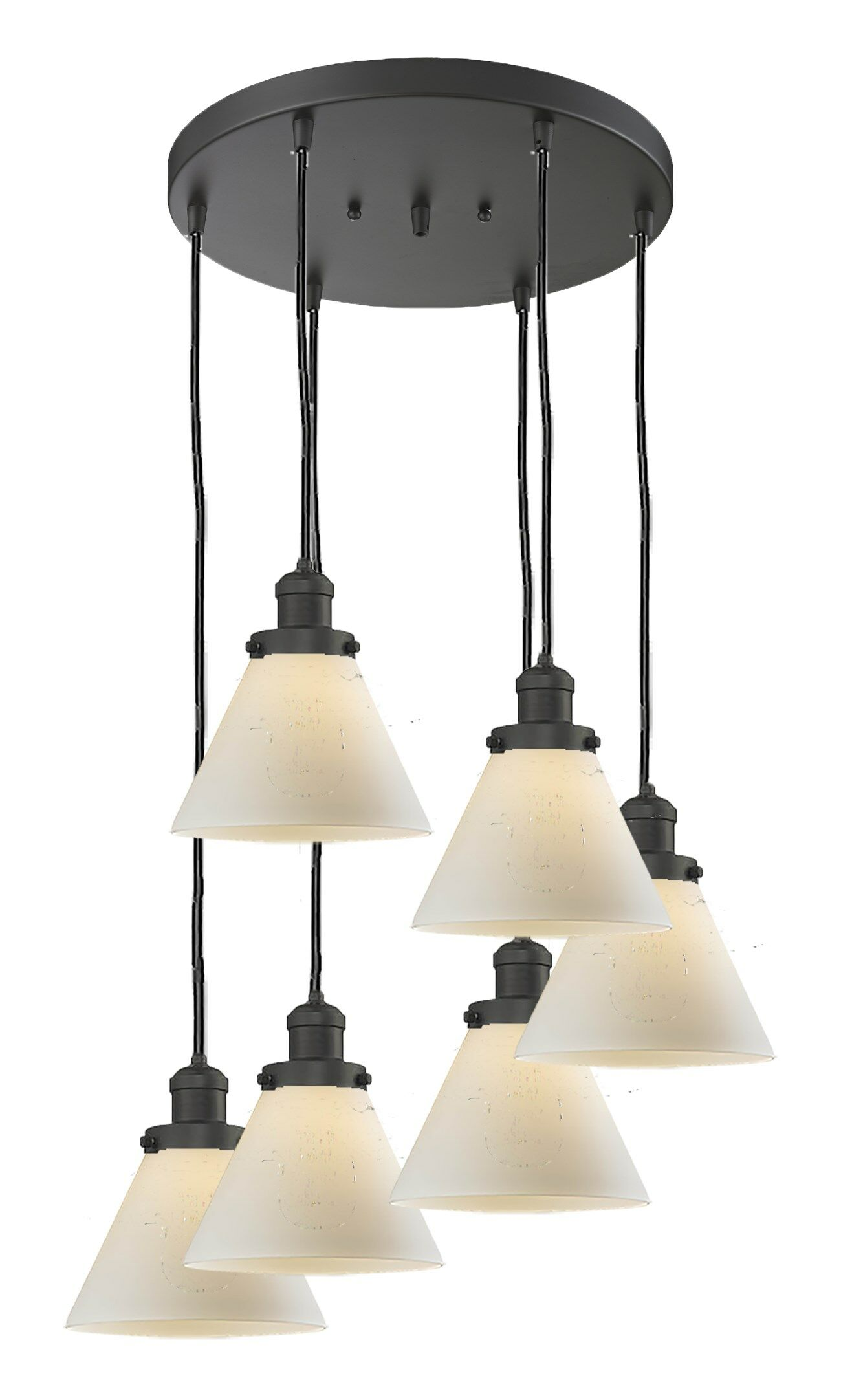 Lindsley Glass Cone 6-Light Pendant Shade Color: Smoked, Finish: Polished Nickel, Size: 12