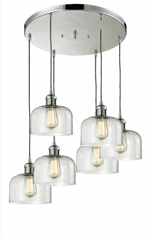 Mikels 6-Light Cluster Pendant Finish: Brushed Satin Nickel, Shade Color: Smoked
