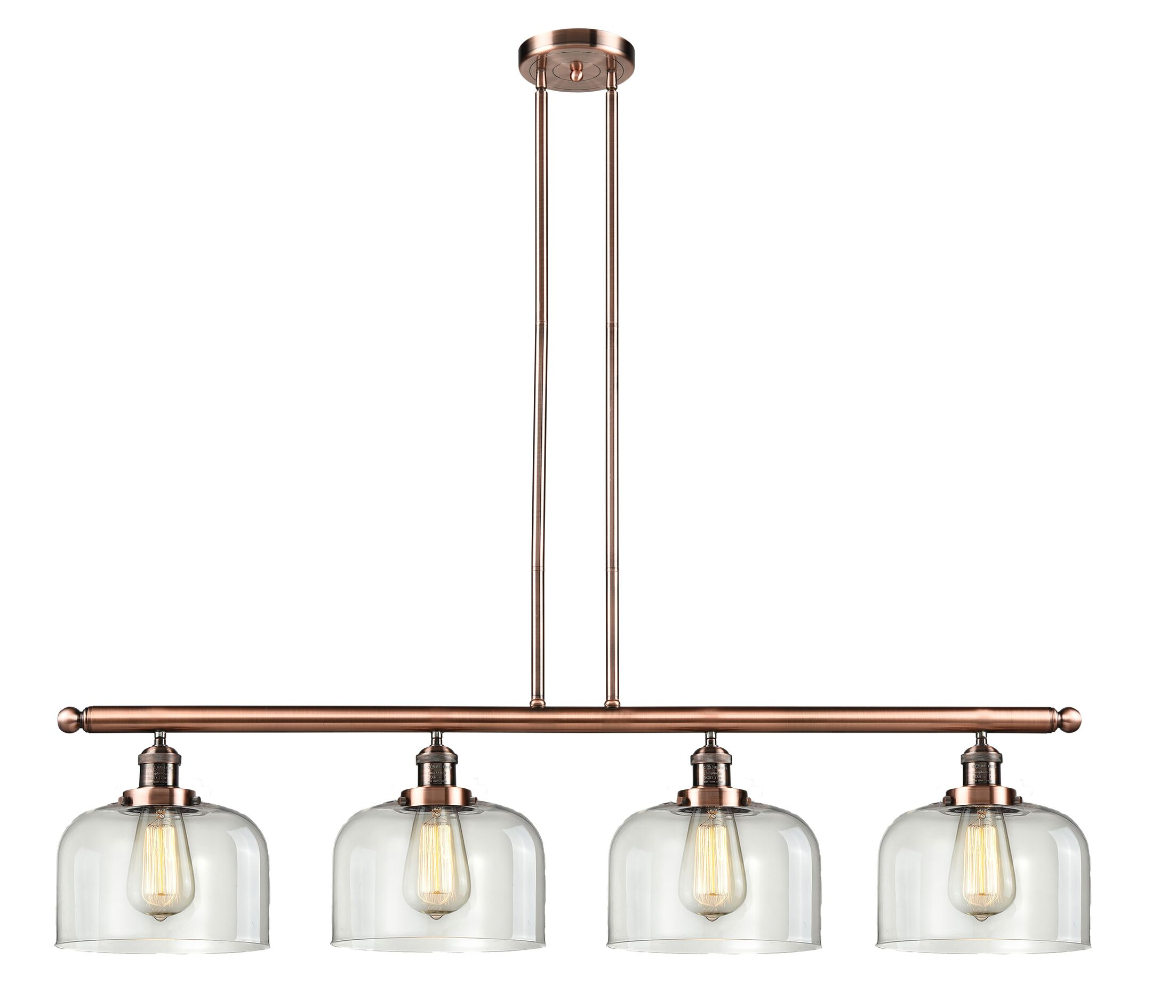 Chaplin Glass Bell 4-Light Kitchen Island Pendant Finish: Antique Copper, Shade Color: Clear, Size: 48