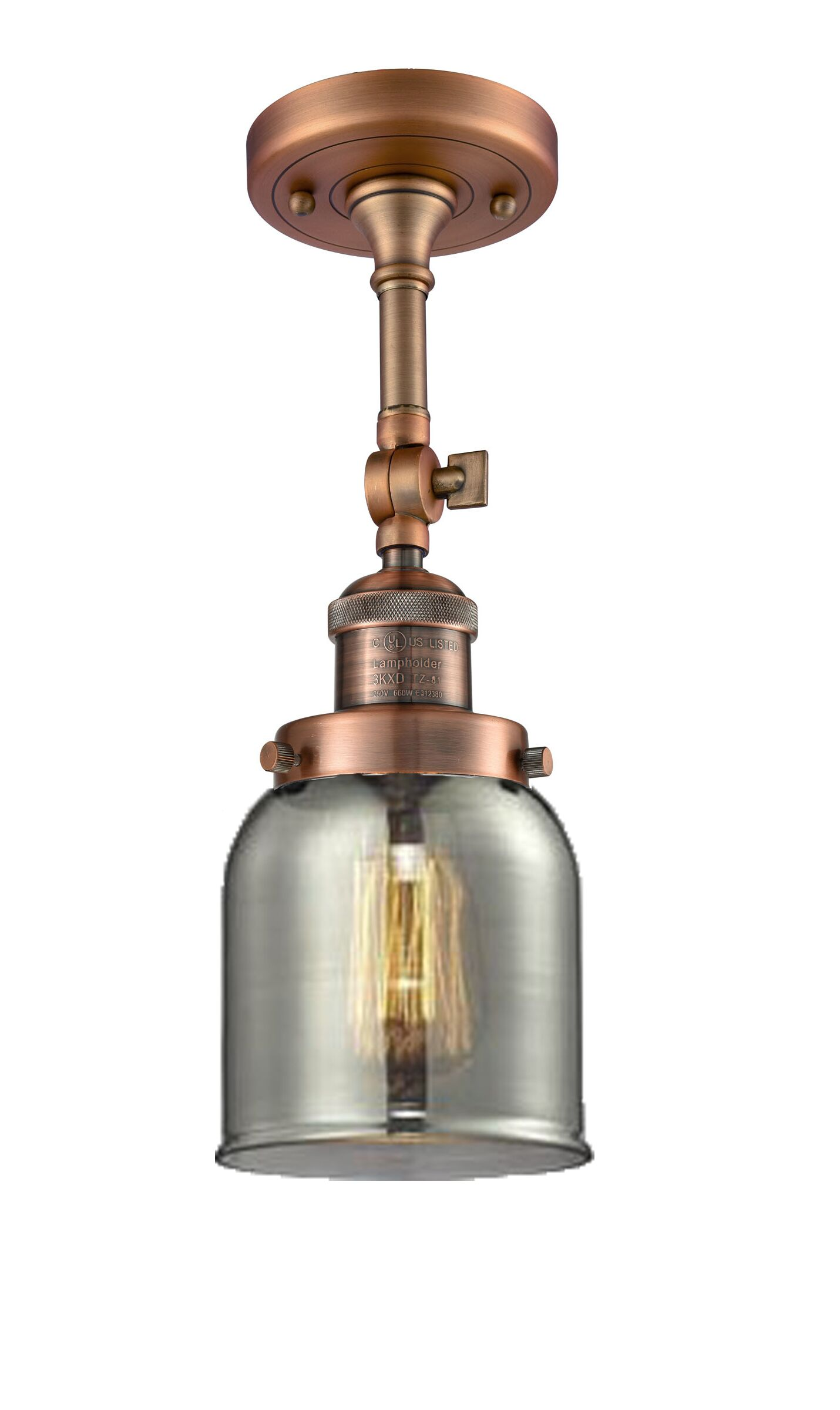 Wynkoop Bell Glass 1-Light Semi Flush Mount Finish: Antique Copper, Shade Color: Smoked, Size: 13
