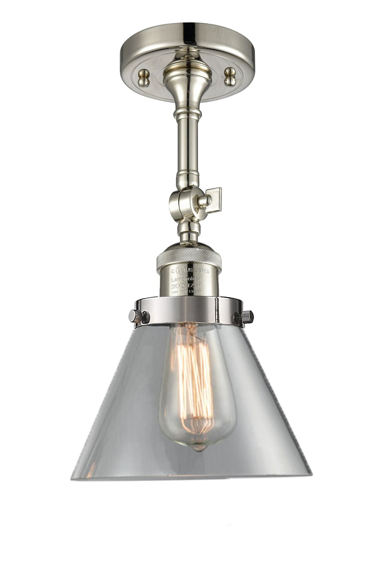Milazzo Glass Cone 1-Light Semi Flush Mount Finish: Polished Nickel, Shade Color: Clear, Size: 13.5
