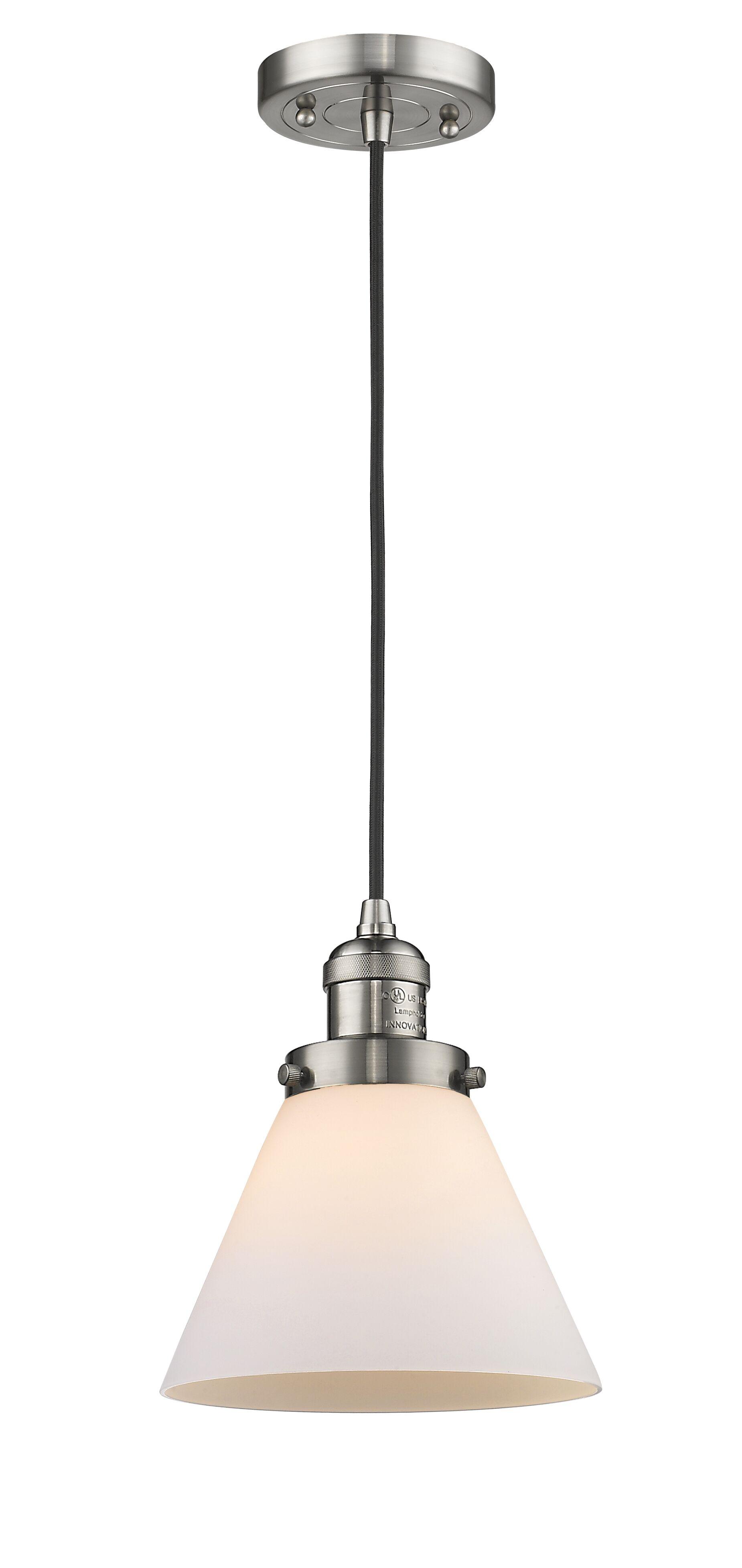 Pachna Glass Cone 1-Light Pendant Shade Color: Matte White Cased, Size: 10