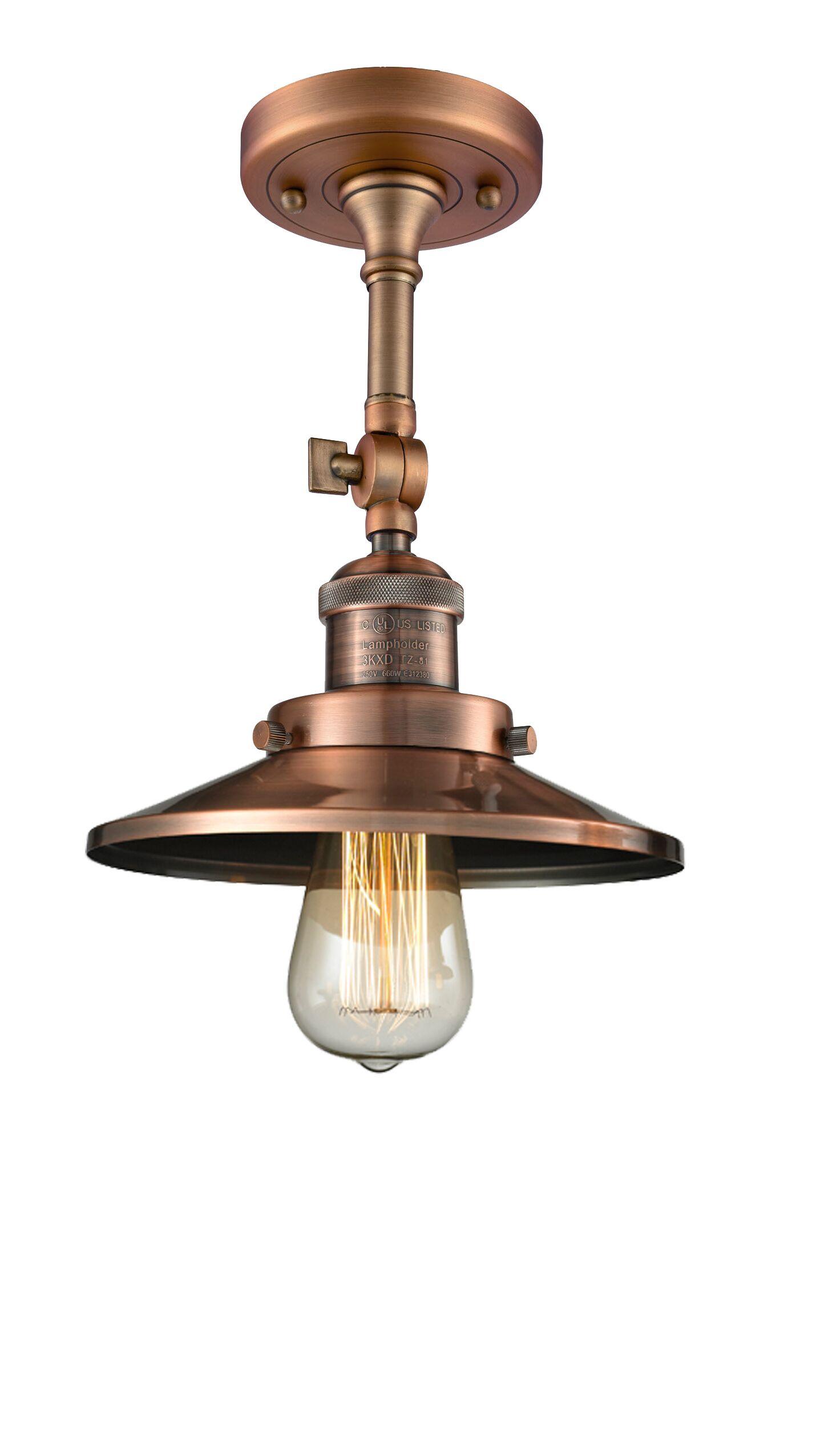 Mikesell 1-Light Semi Flush Mount Fixture Finish: Antique Copper