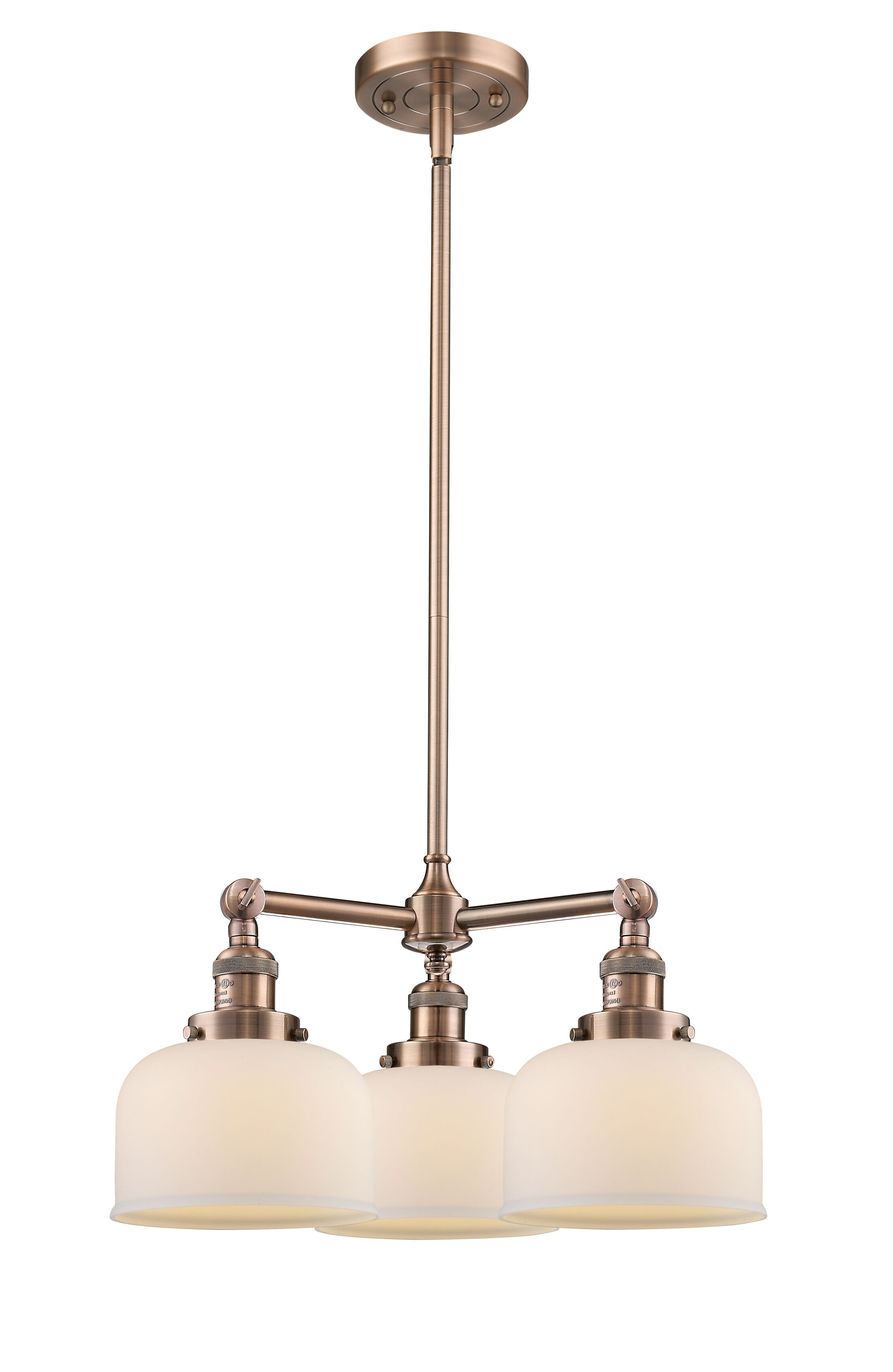 Wymore 3-Light Shaded Chandelier Shade Color: Matte White Cased, Finish: Antique Copper