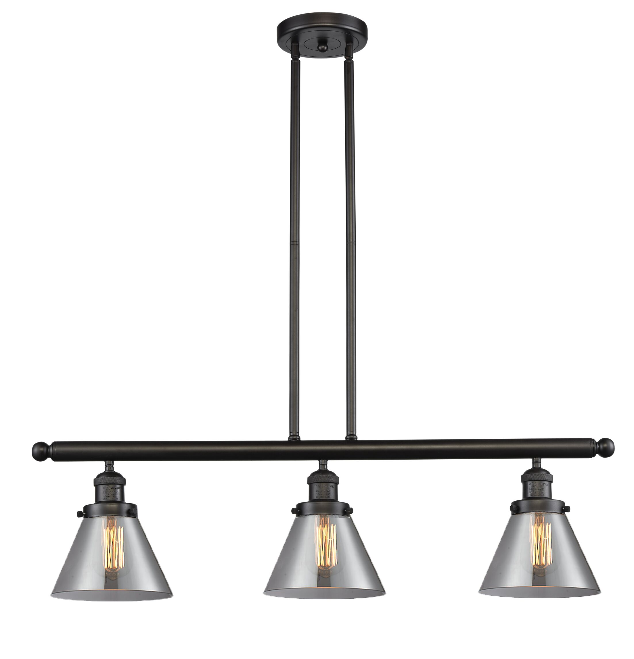 Wyndmoor Glass Cone 3-Light Kitchen Island Pendant Finish: Oil Rubbed Bronze, Shade Color: Smoked, Size: 36