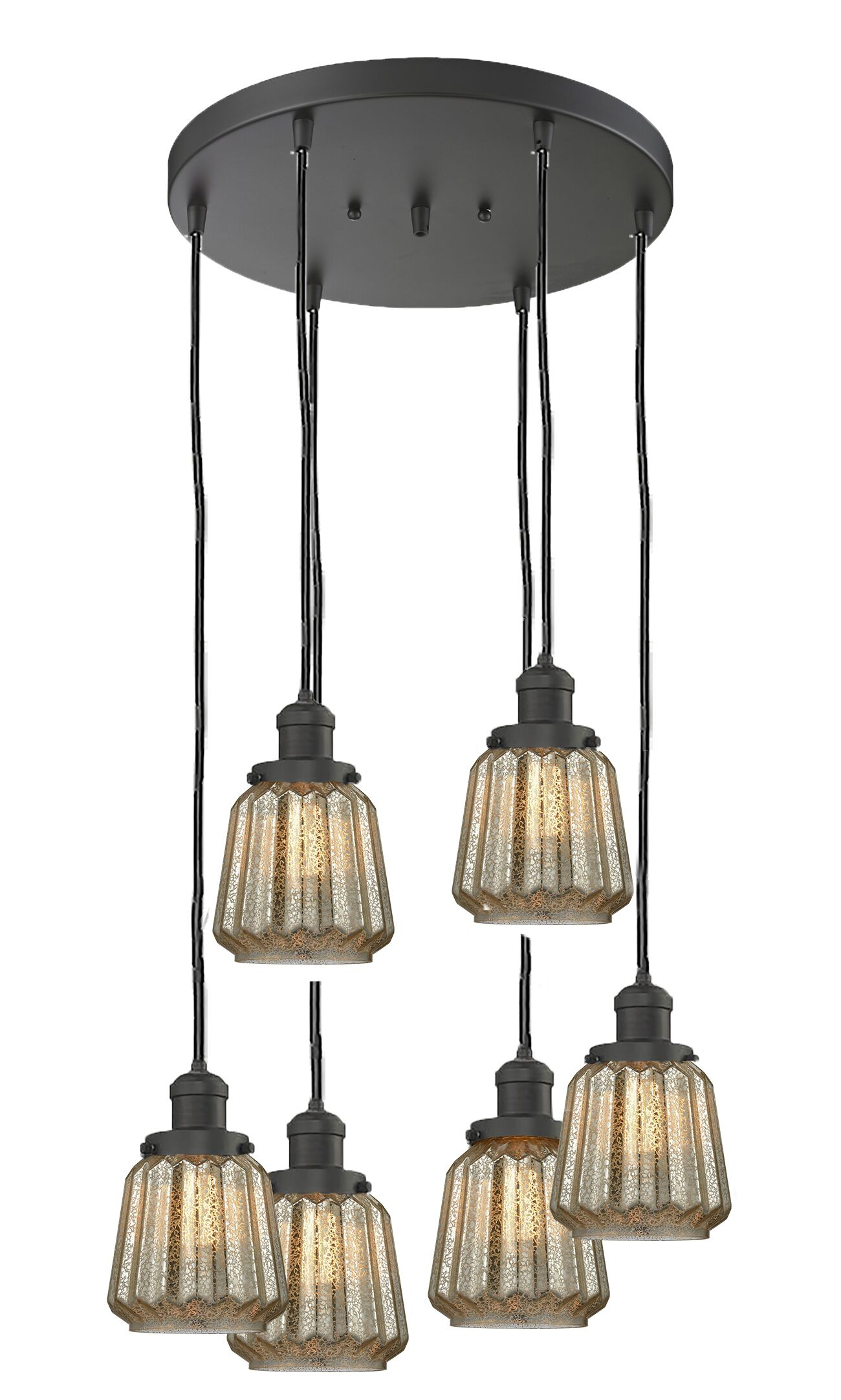 Vinson 6-Light Cluster Pendant Finish: Oil Rubbed Bronze, Shade Color: Mercury