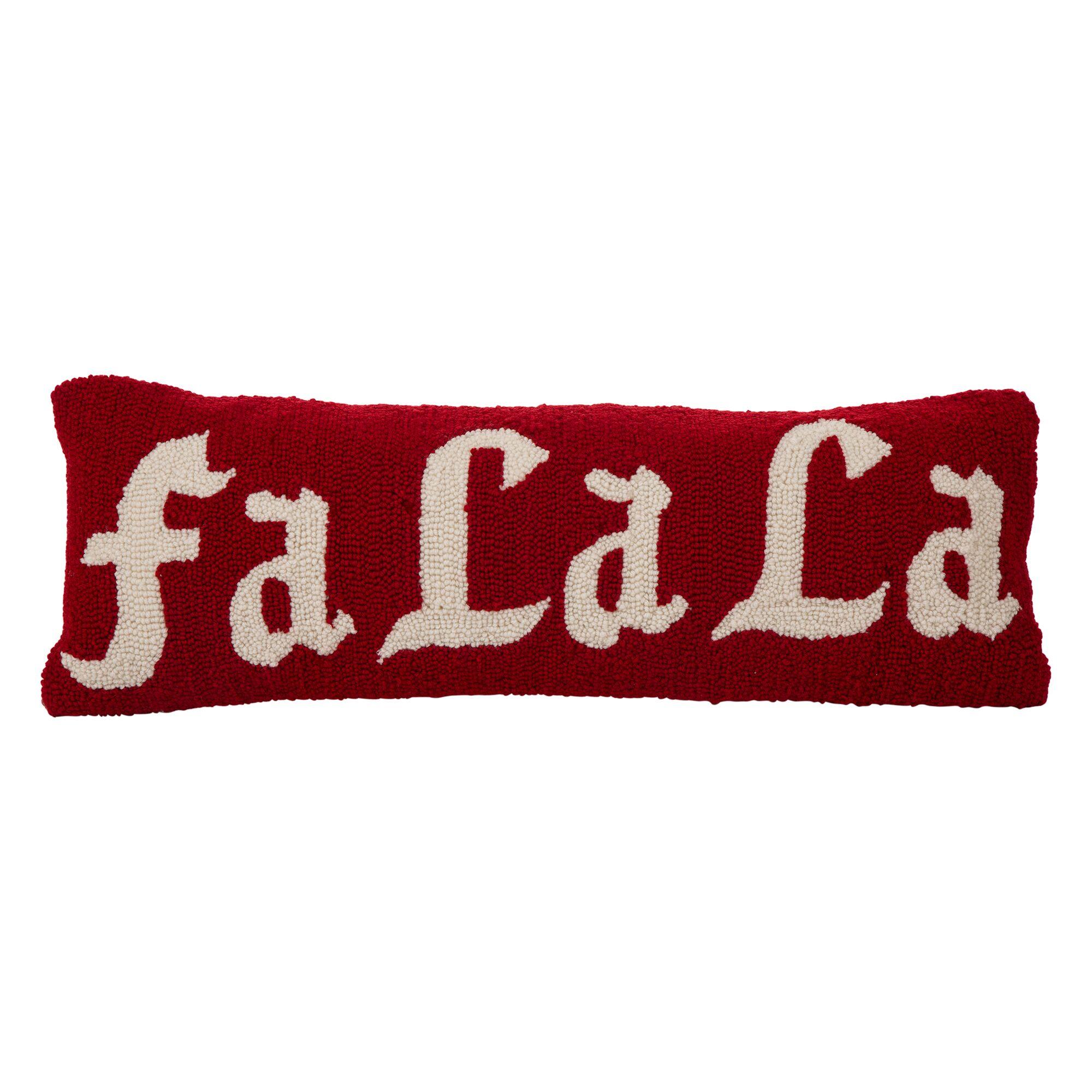 Hooked ''Fa La La'' 100% Cotton Lumbar Pillow