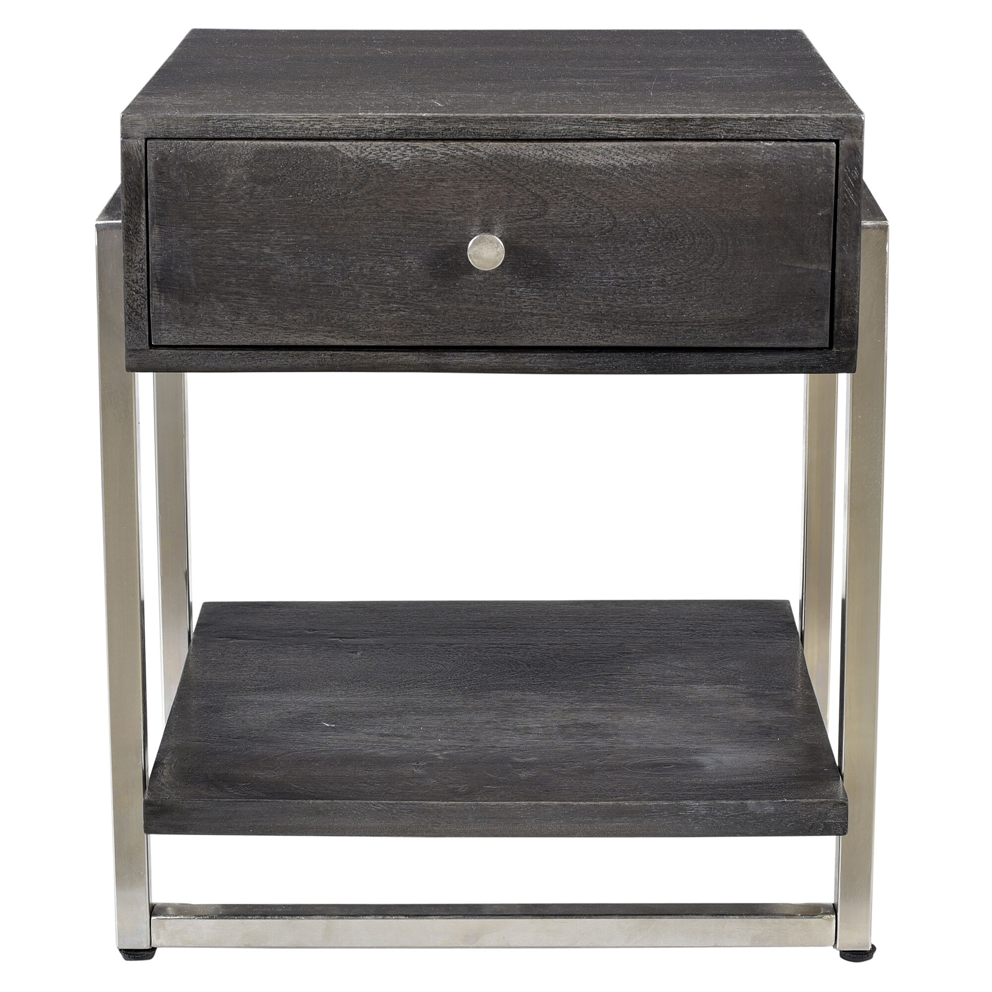 Lowe Solid Mango Wood and Metal End Table Color: Dark Gray