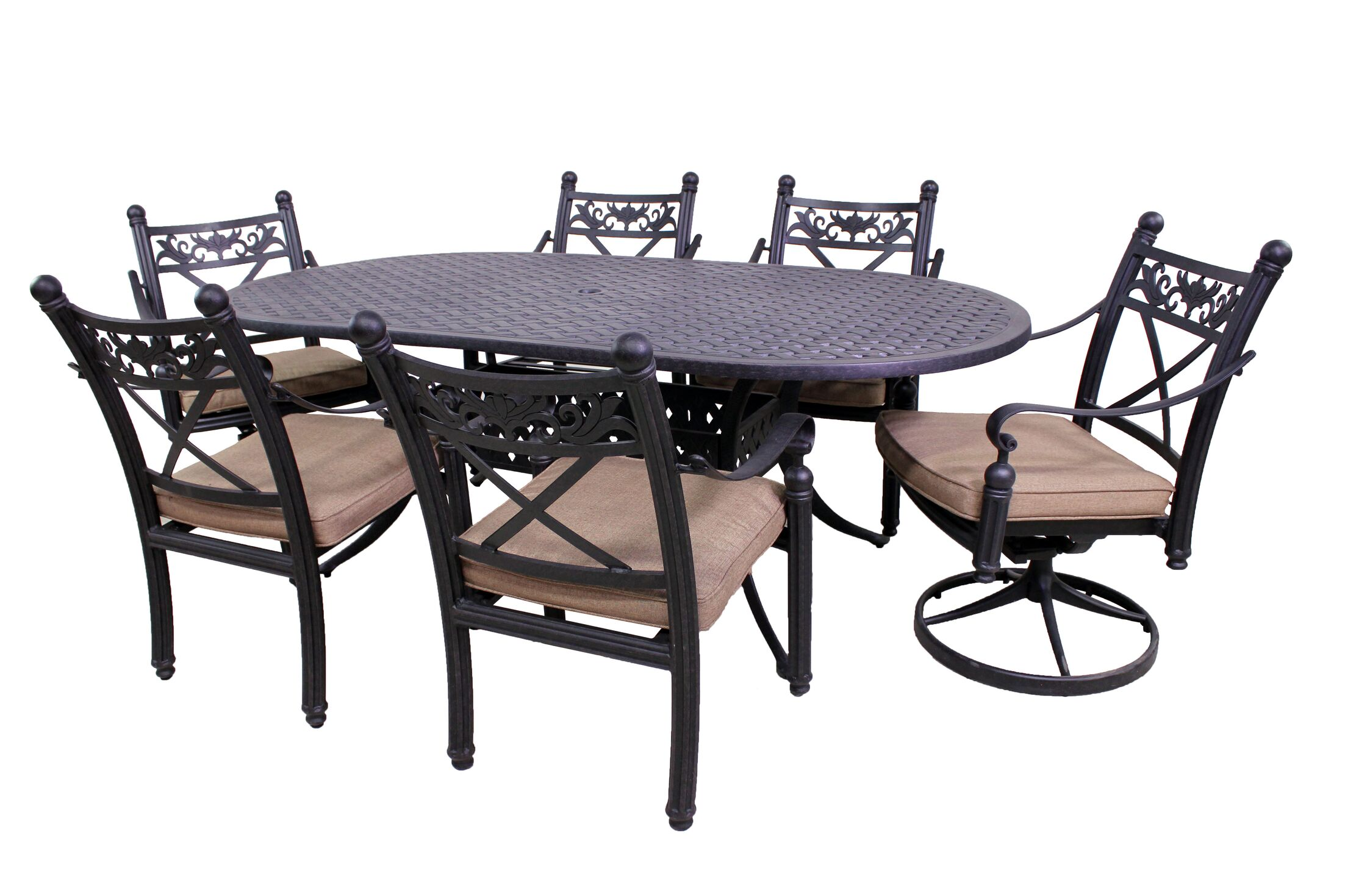 Baldwin 7 Piece Oval Dining Set Table Size: 42