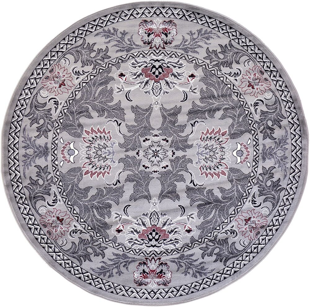 Farley Light Gray Area Rug Rug Size: Round 8'