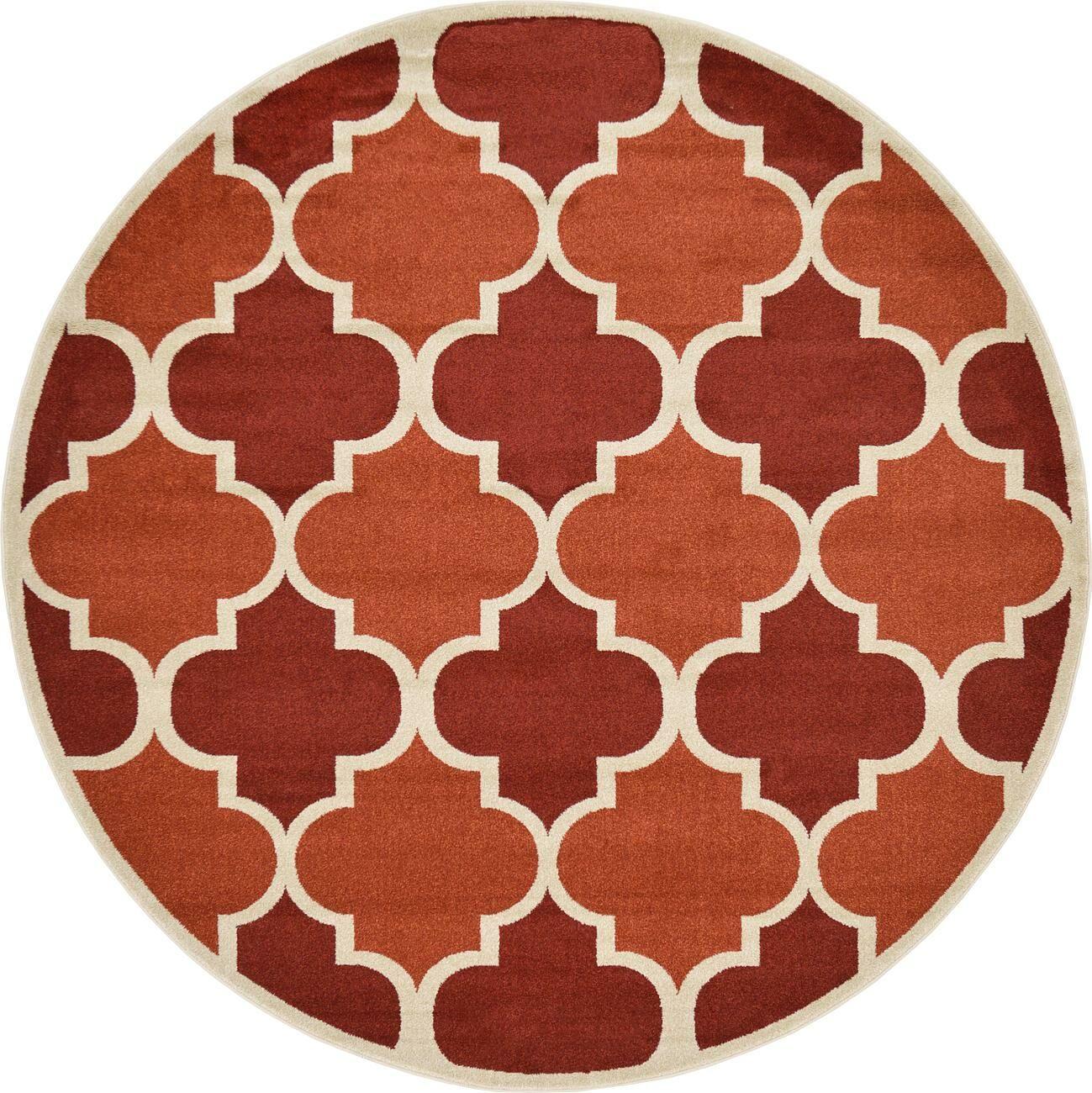 Emjay Terracotta Area Rug Rug Size: Round 8'
