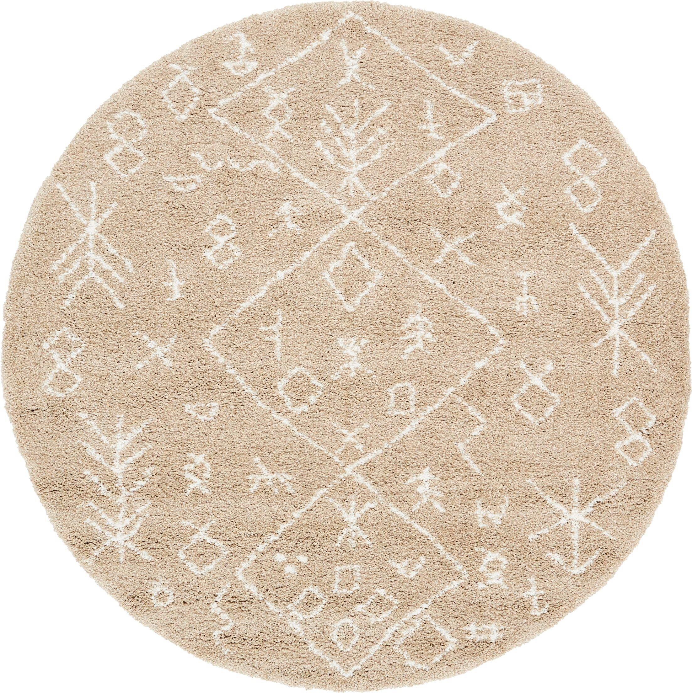 France Machine woven Taupe Area Rug Rug Size: Round 8'