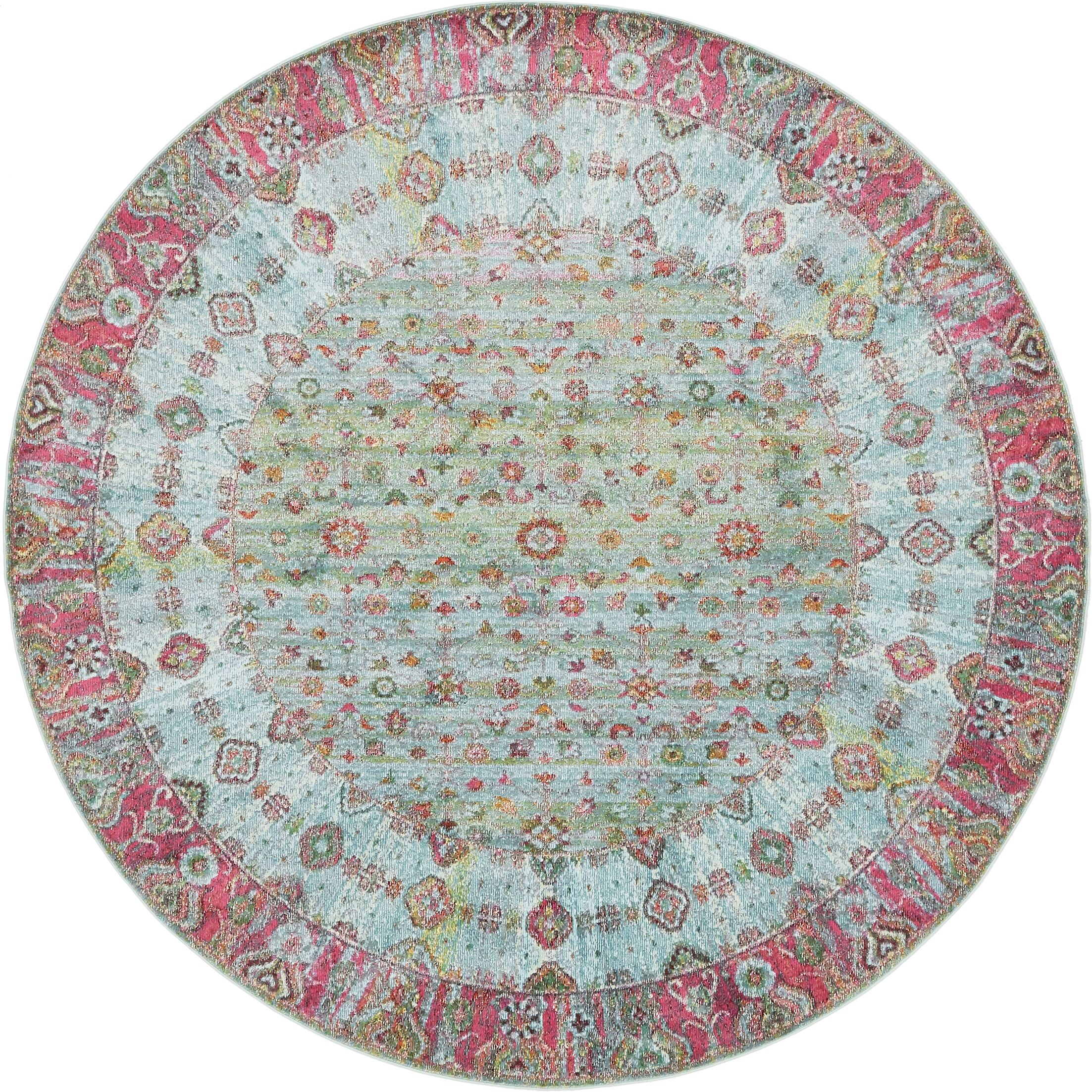 Lonerock European Pink/Teal Area Rug Rug Size: Round 8'4
