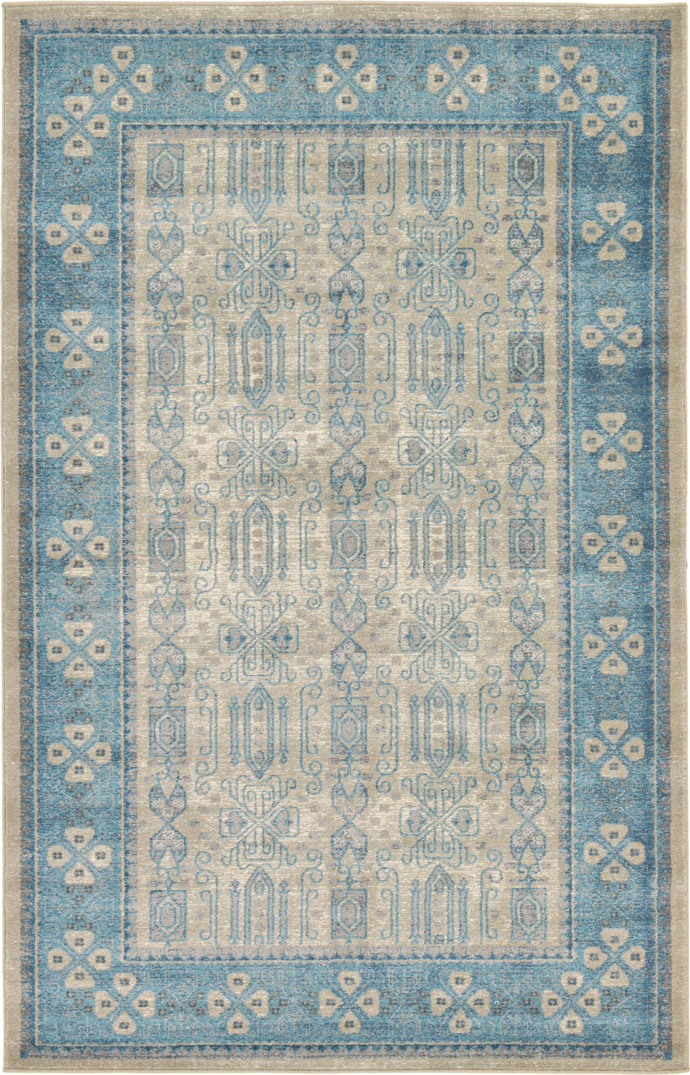 Brierfield Beige/Blue Area Rug Rug Size: Rectangle 5' x 8'