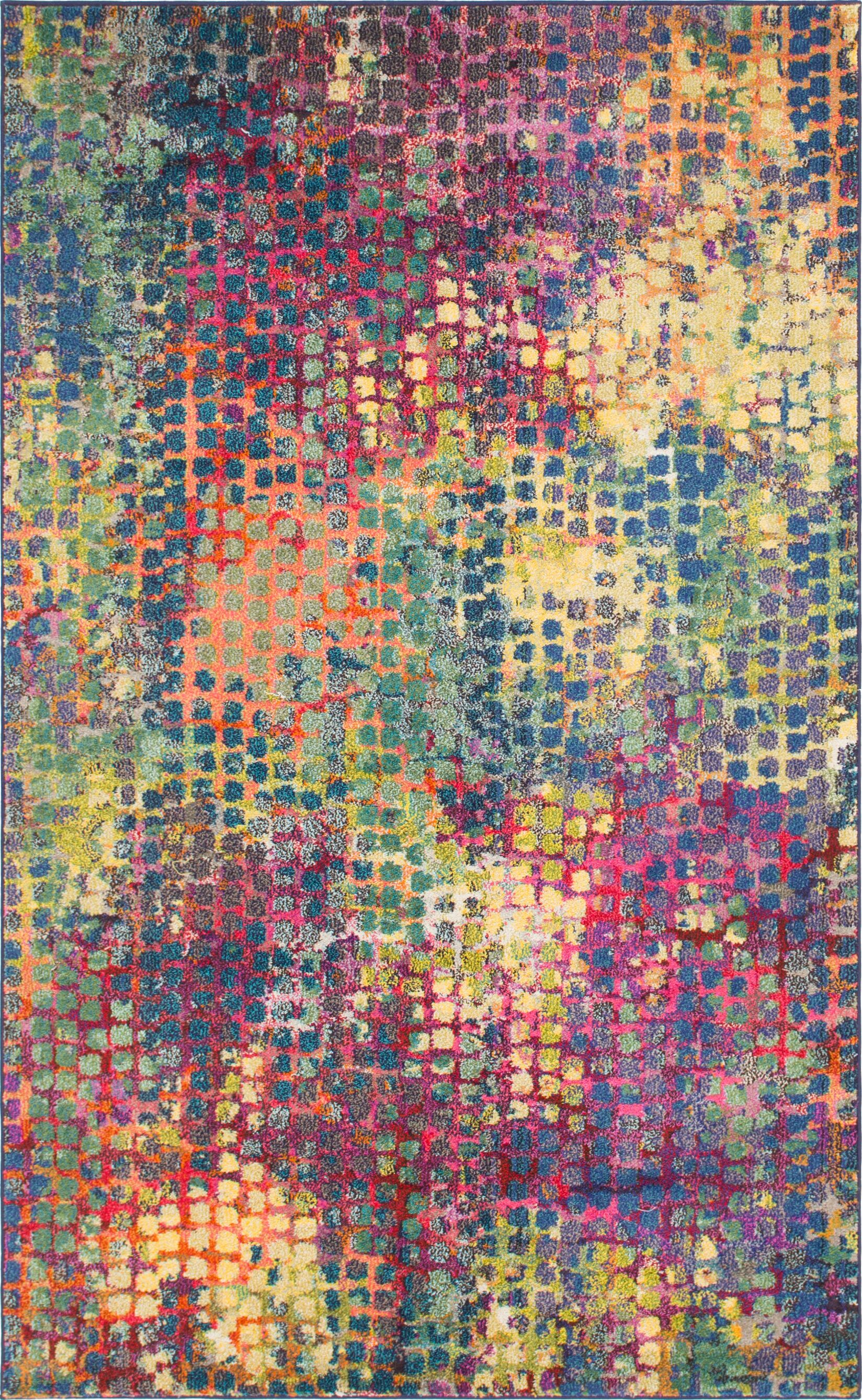 Piotrowski Pink/Blue Area Rug Rug Size: Rectangle 5' x 8'