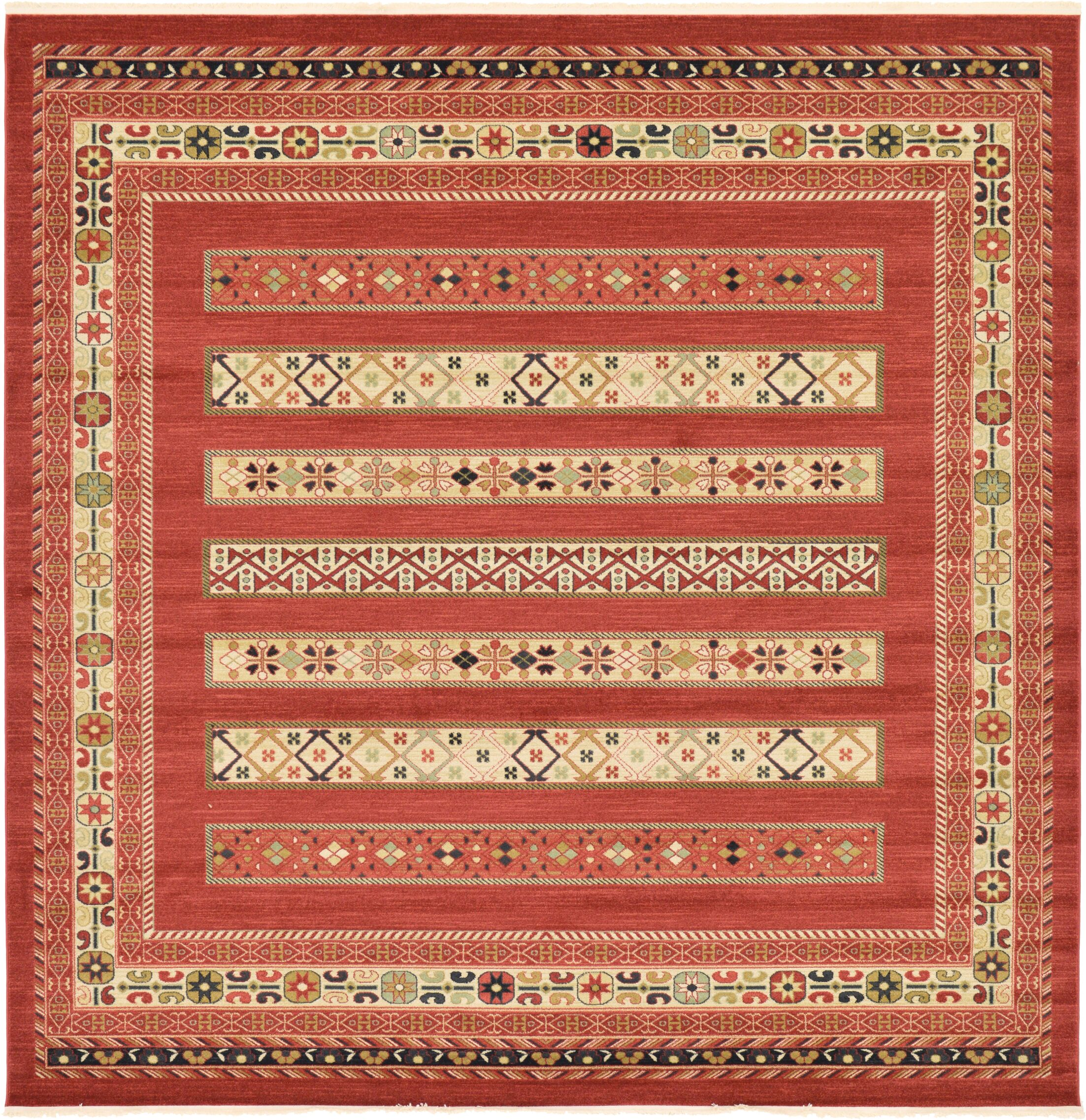 Foret Noire Rust Red Area Rug Rug Size: Square 10'