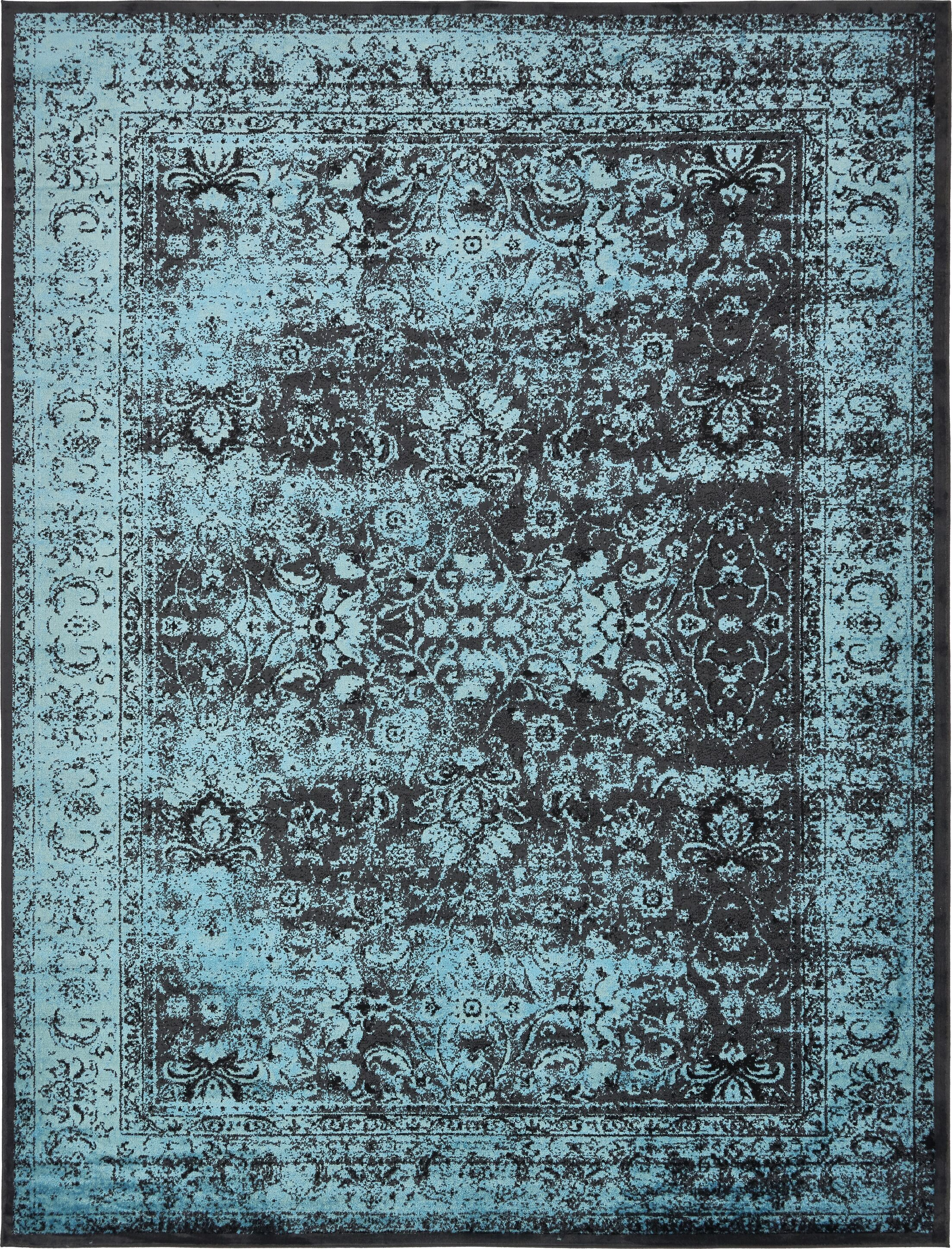Neuilly Blue/Black Area Rug Rug Size: 13' x 19'8