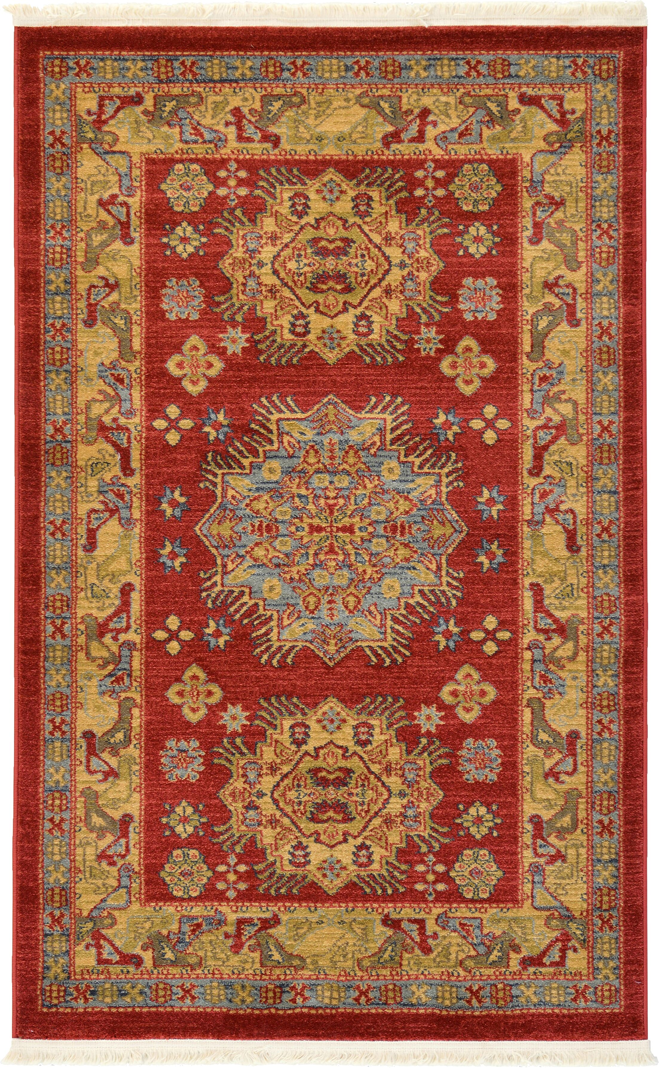 Jana Red Area Rug Rug Size: Rectangle 3'3