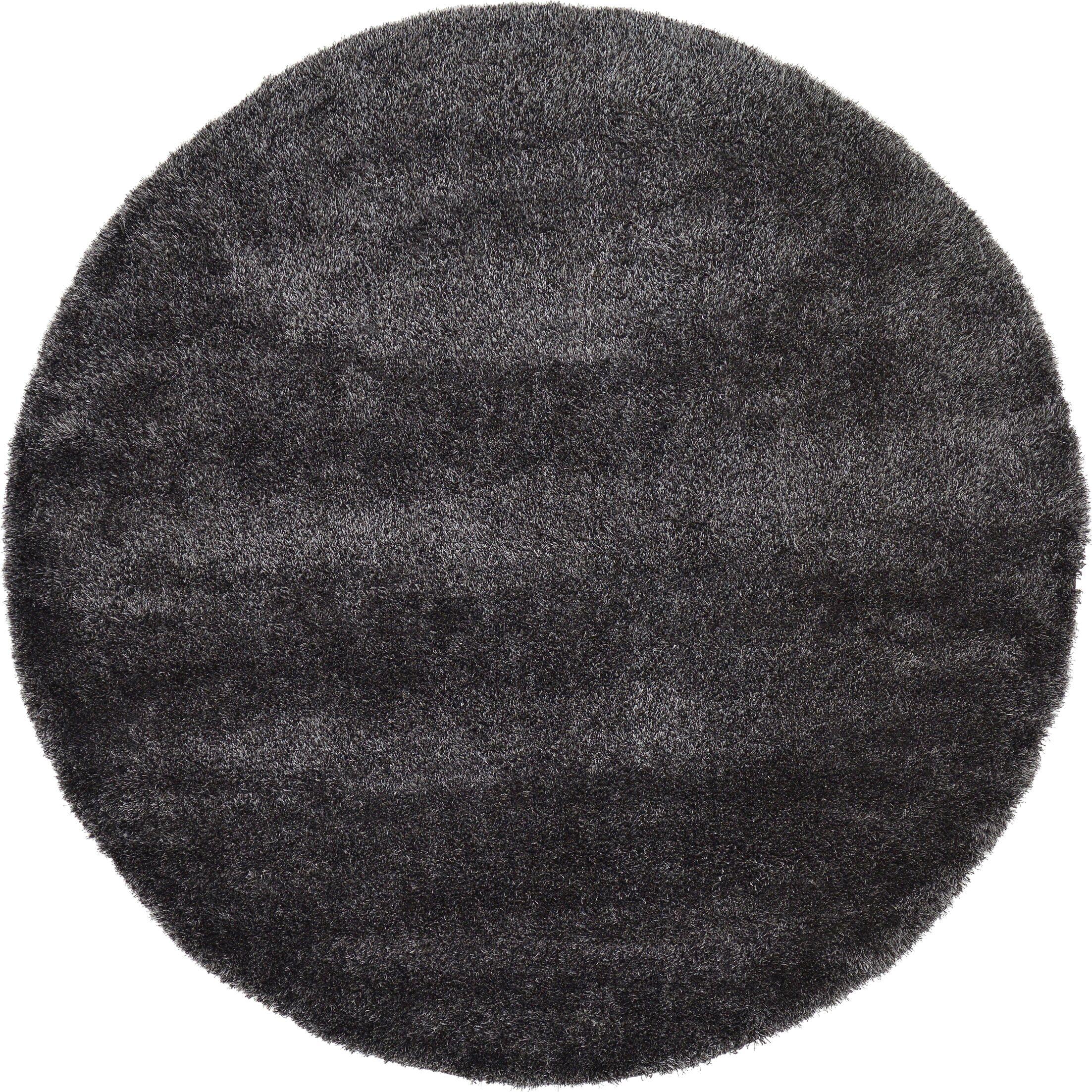 Evelyn Black Area Rug Rug Size: Round 8'