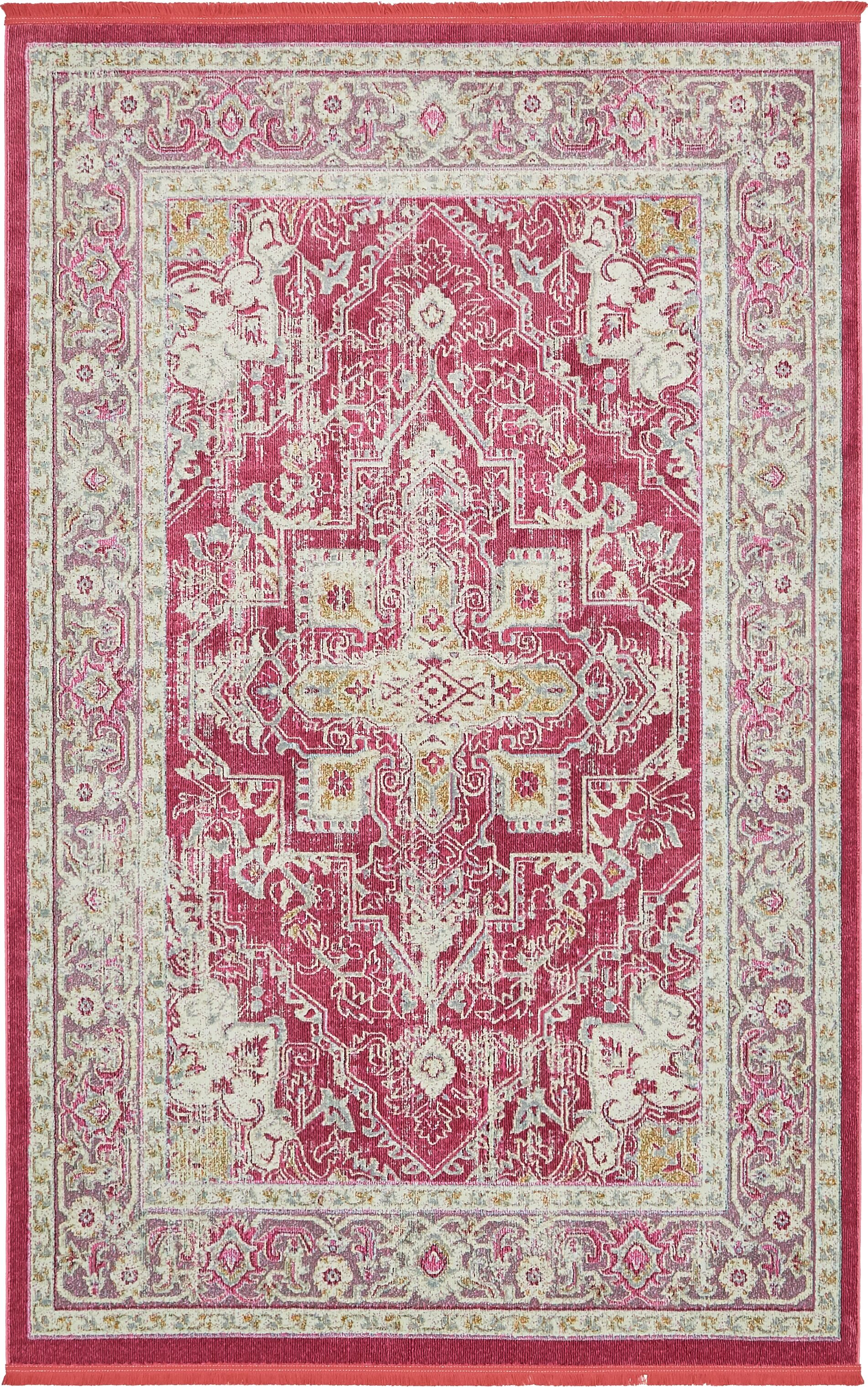 Lonerock European Pink Area Rug Rug Size: Rectangle 5'5