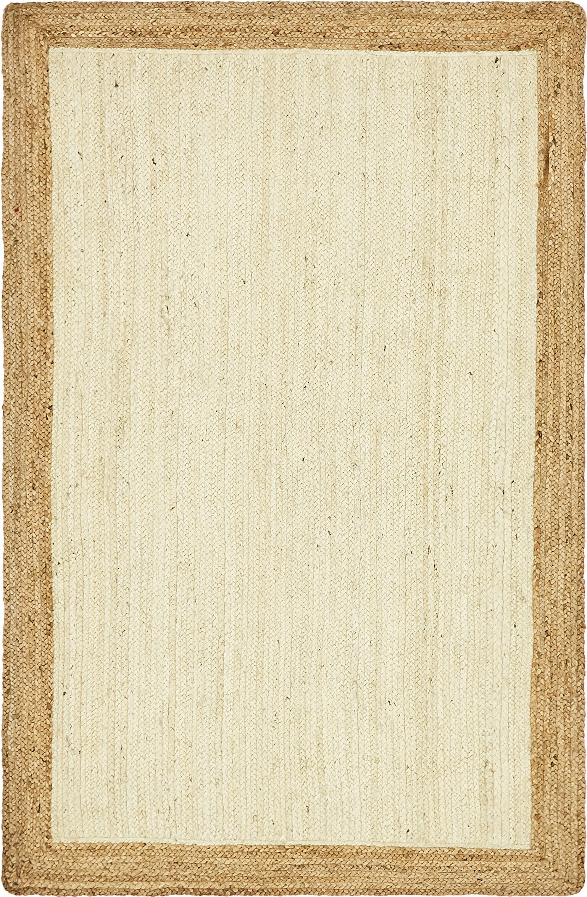 Antiqua Hand-Braided White Area Rug Rug Size: Rectangle 5' x 8'