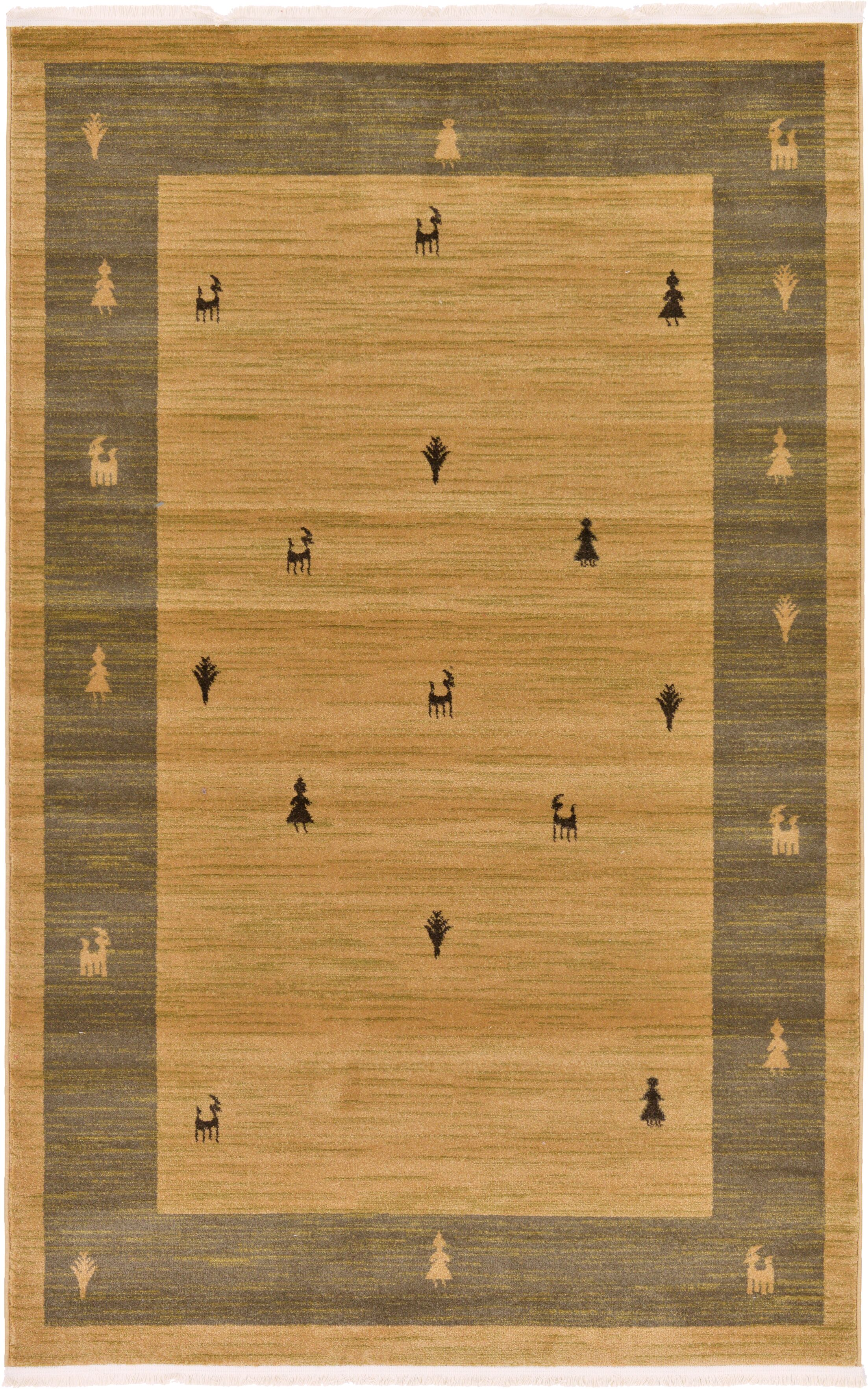 Jan Traditional Tan Area Rug Rug Size: Rectangle 5' x 8'