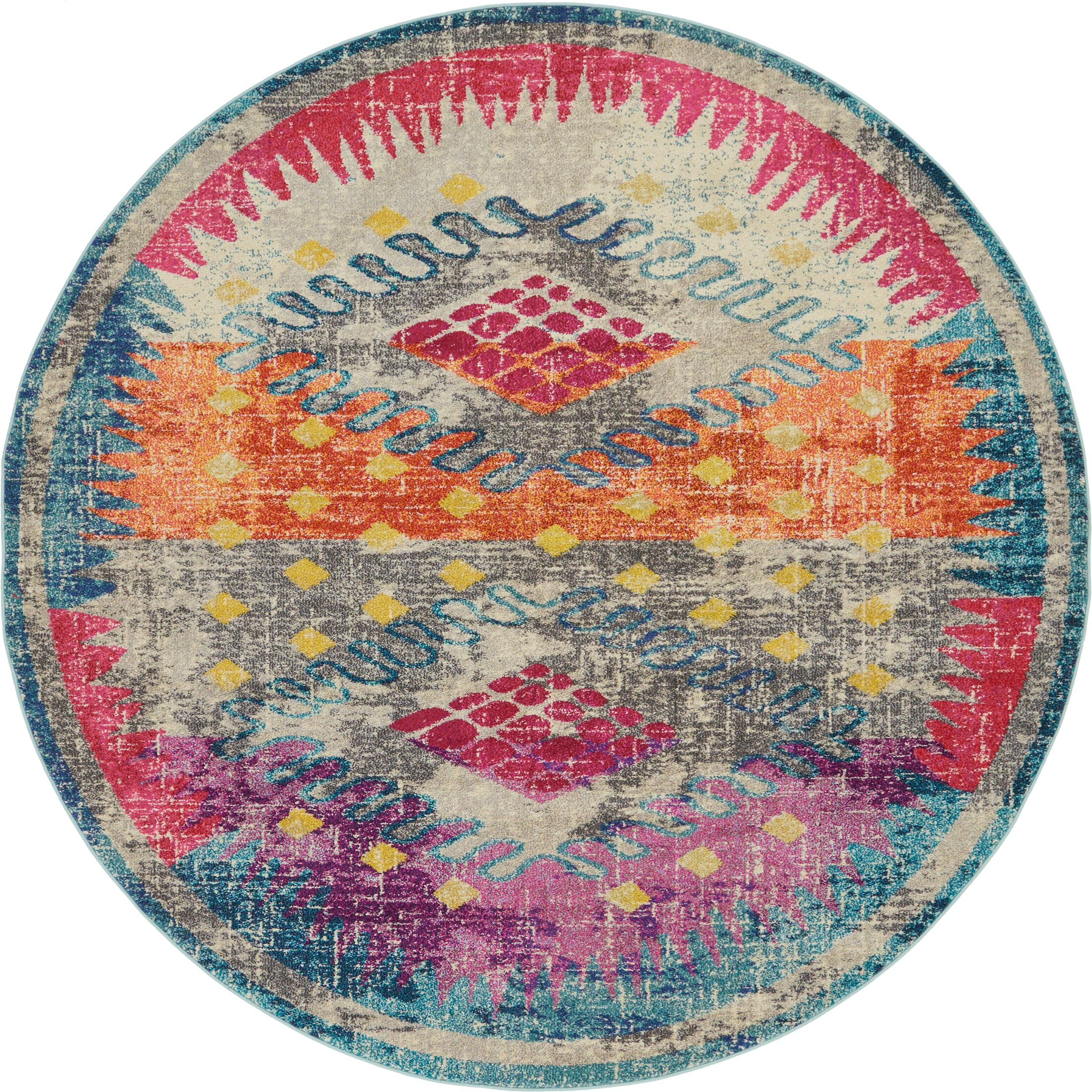 Cassava Purple/Orange/Blue Area Rug Rug Size: Round 8' x 8'