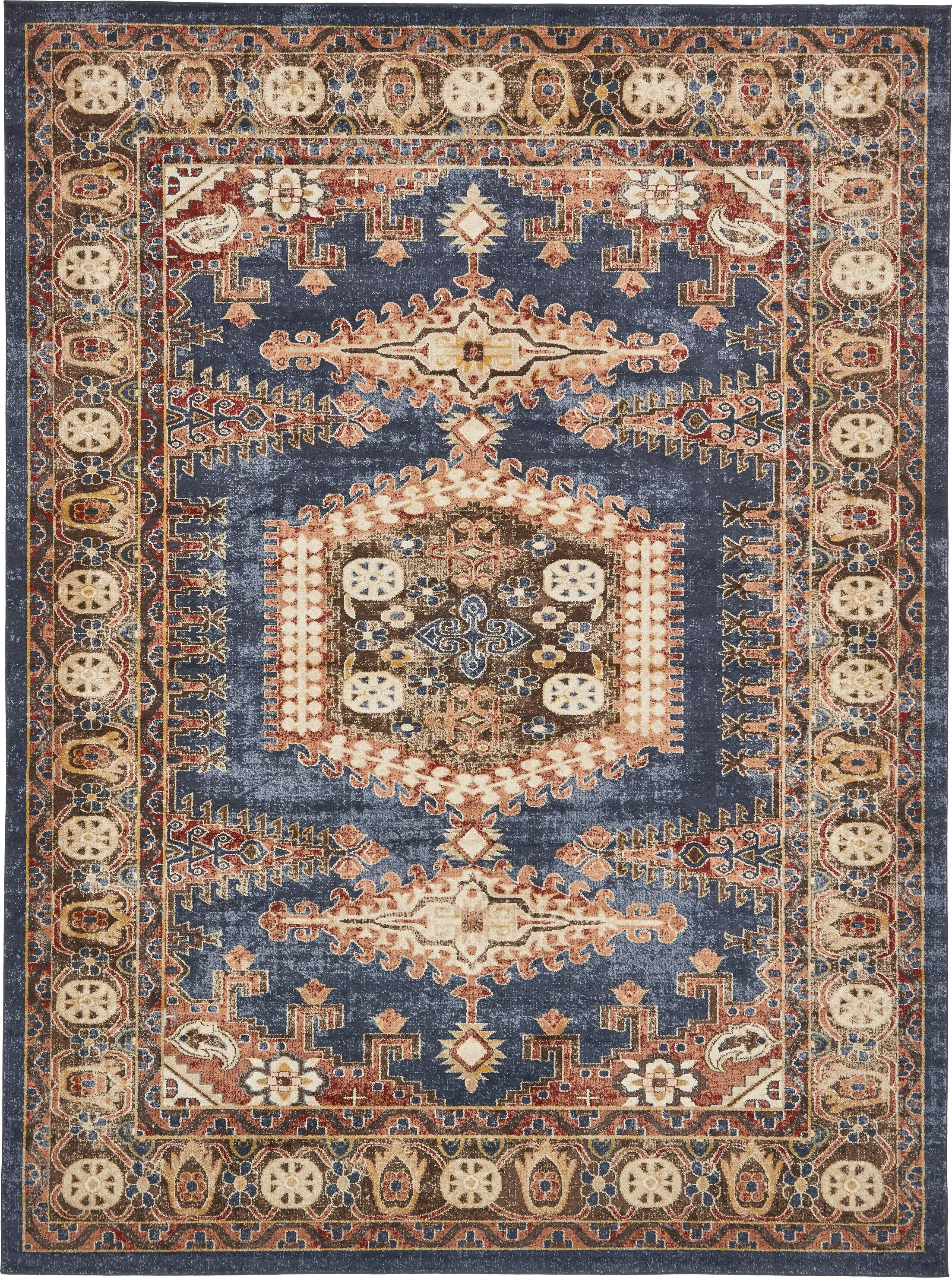 Nathanson Dark Blue Area Rug Rug Size: Rectangle 9' x 12'