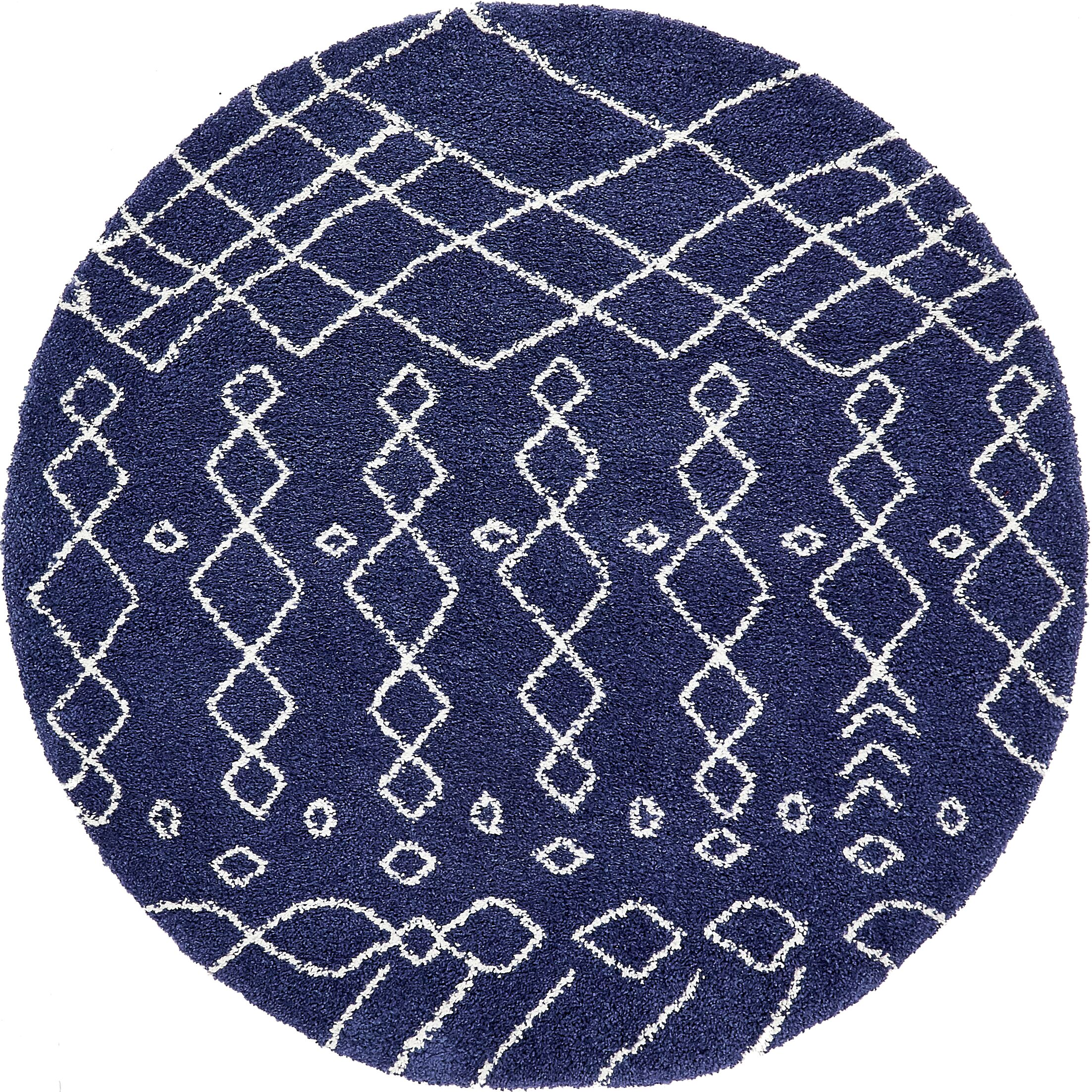 Bourne Machine woven Navy Blue Area Rug Rug Size: Round 8'
