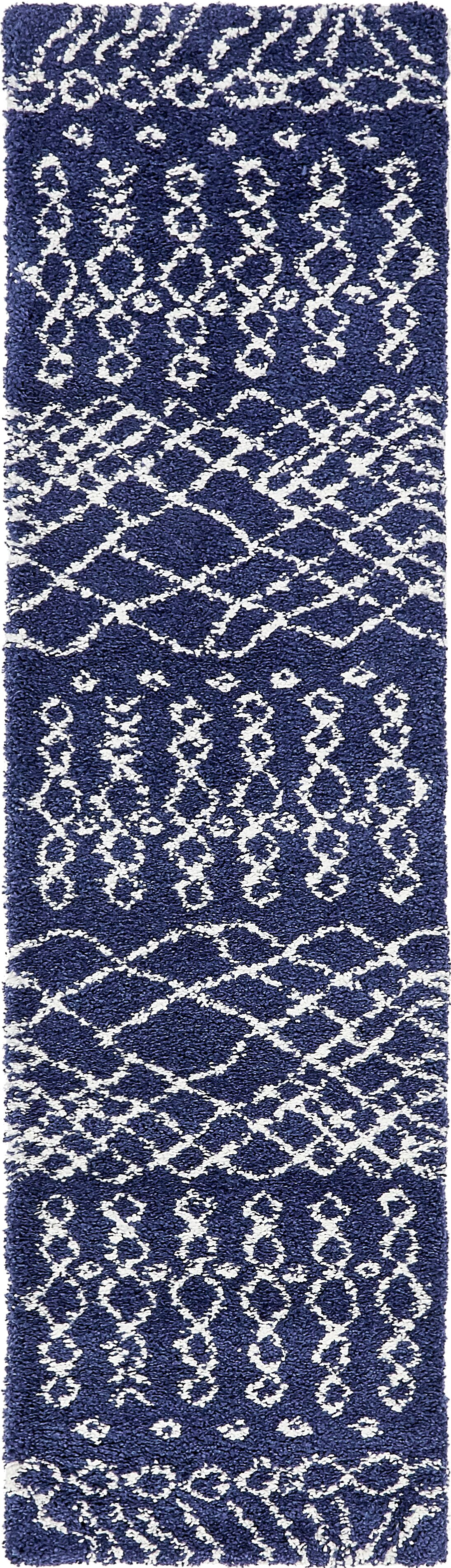 Bourne Machine woven Navy Blue Area Rug Rug Size: Runner 2'7