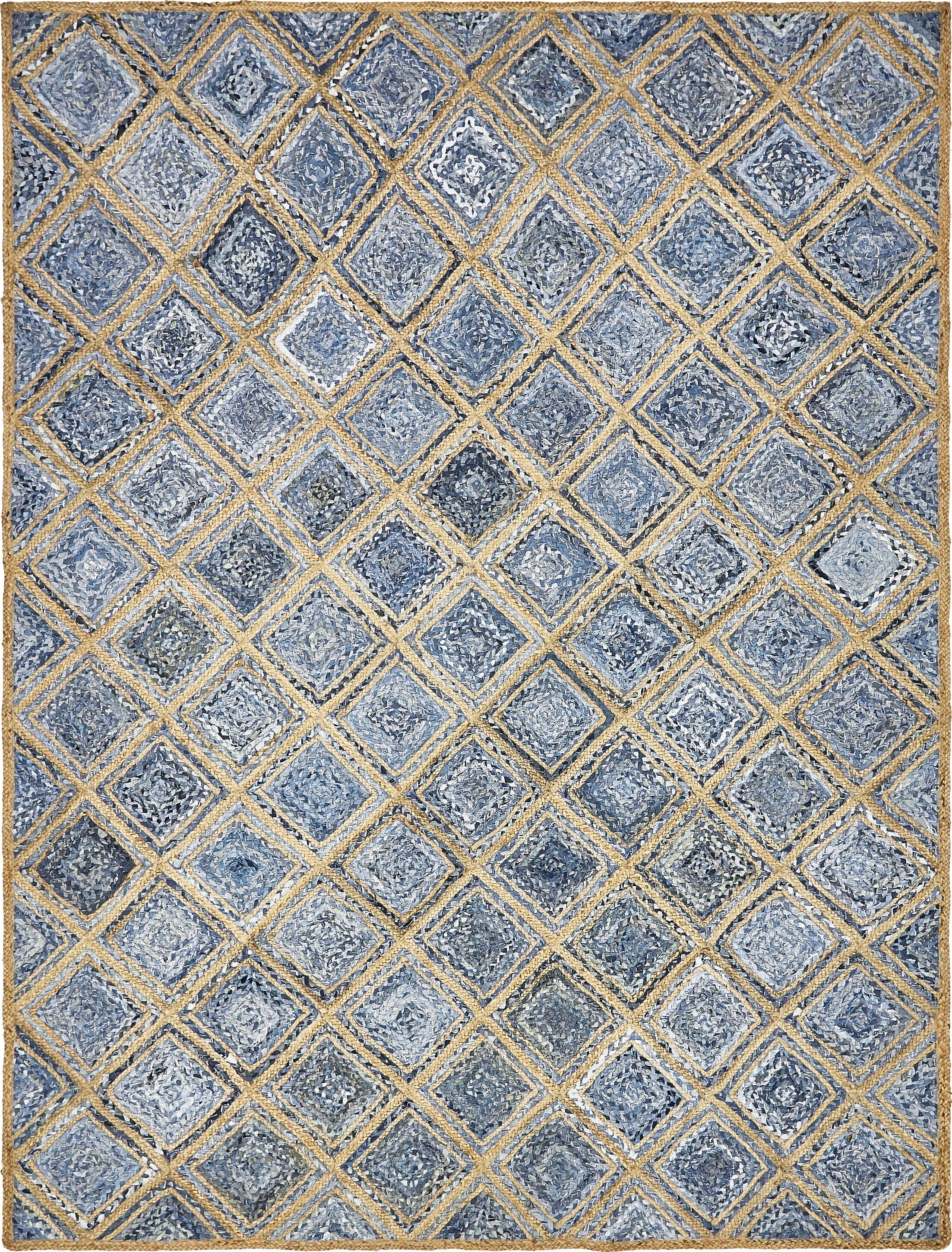 McRae Hand-Braided Blue Area Rug Rug Size: Rectangle 9' x 12'