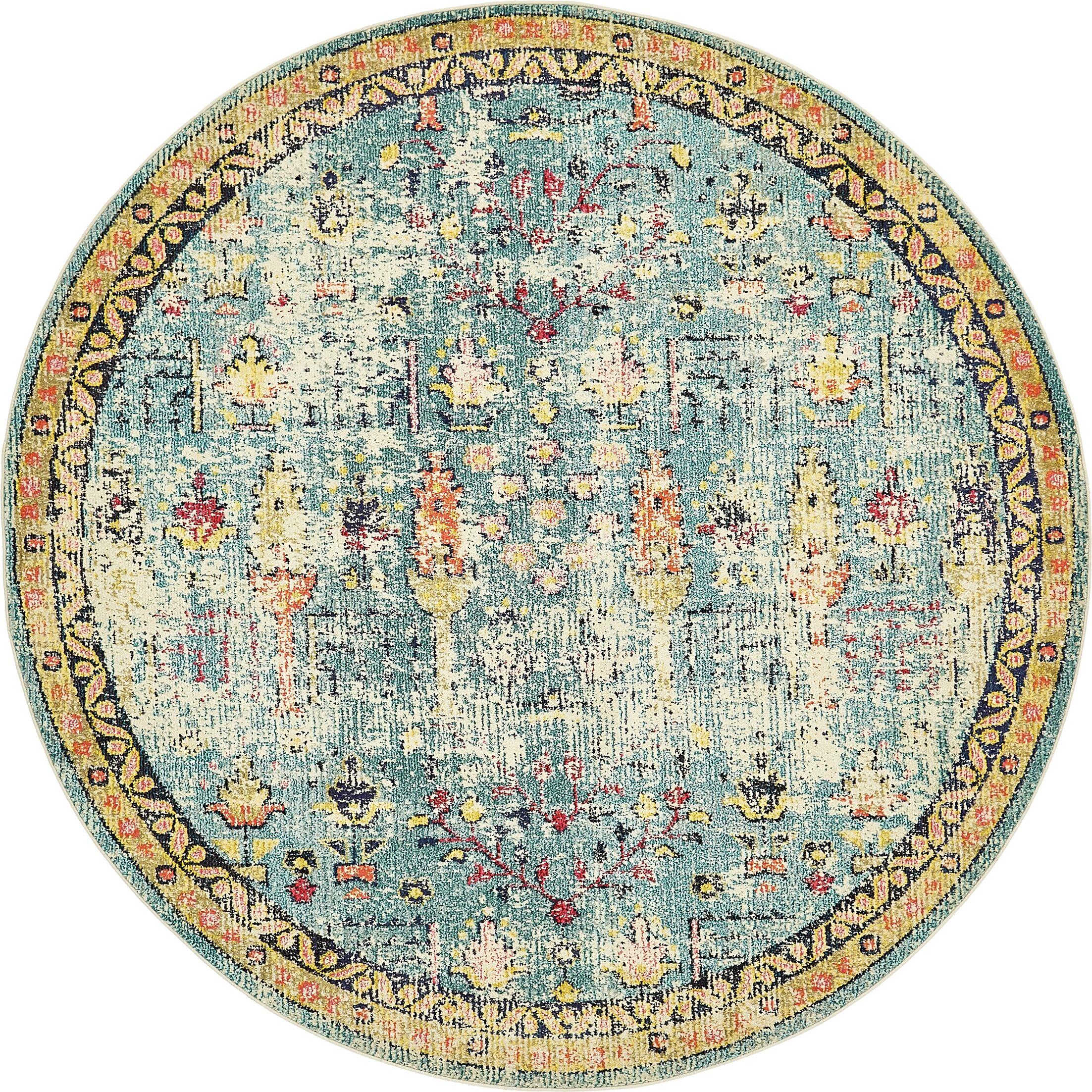 Piland Blue Area Rug Rug Size: Round 8'