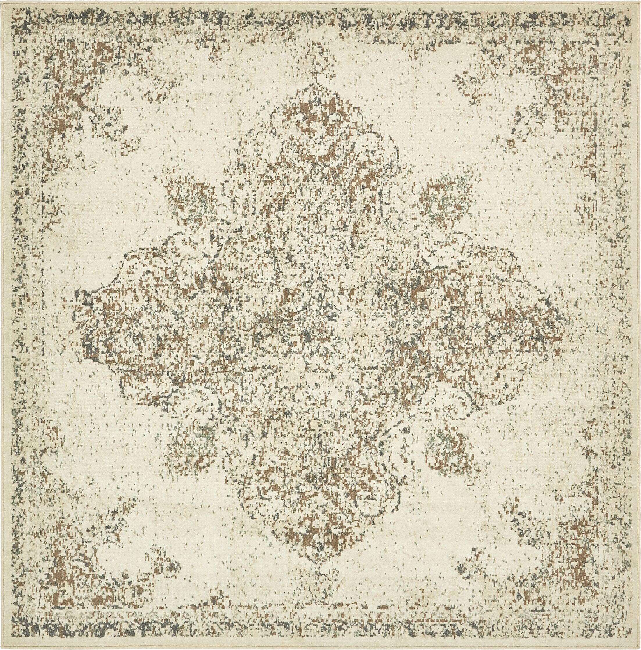 Forcalquier Rectangle Cream Area Rug Rug Size: Square 8'