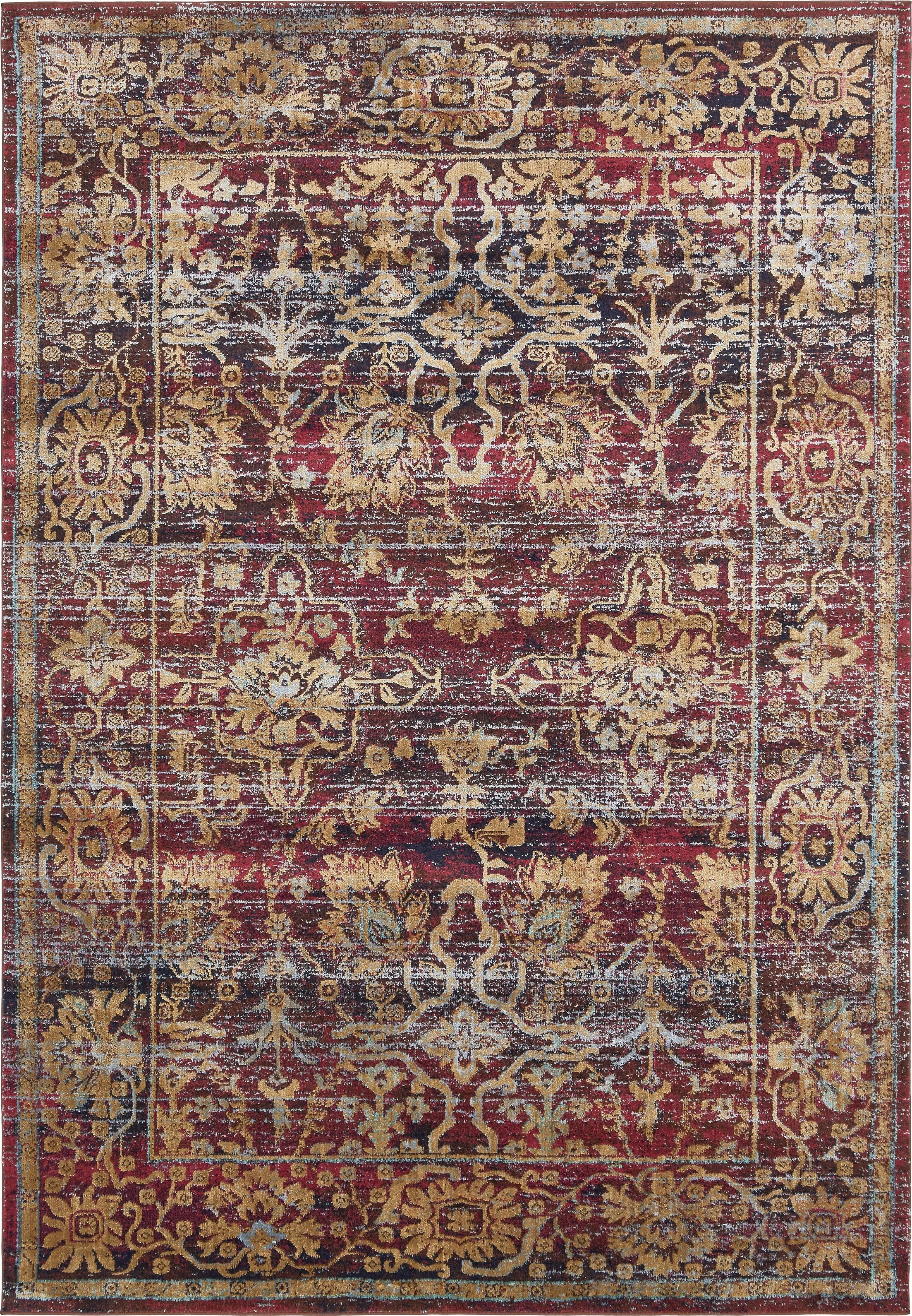 Rennick Red/Beige Area Rug Rug Size: Rectangle 7' x 10'