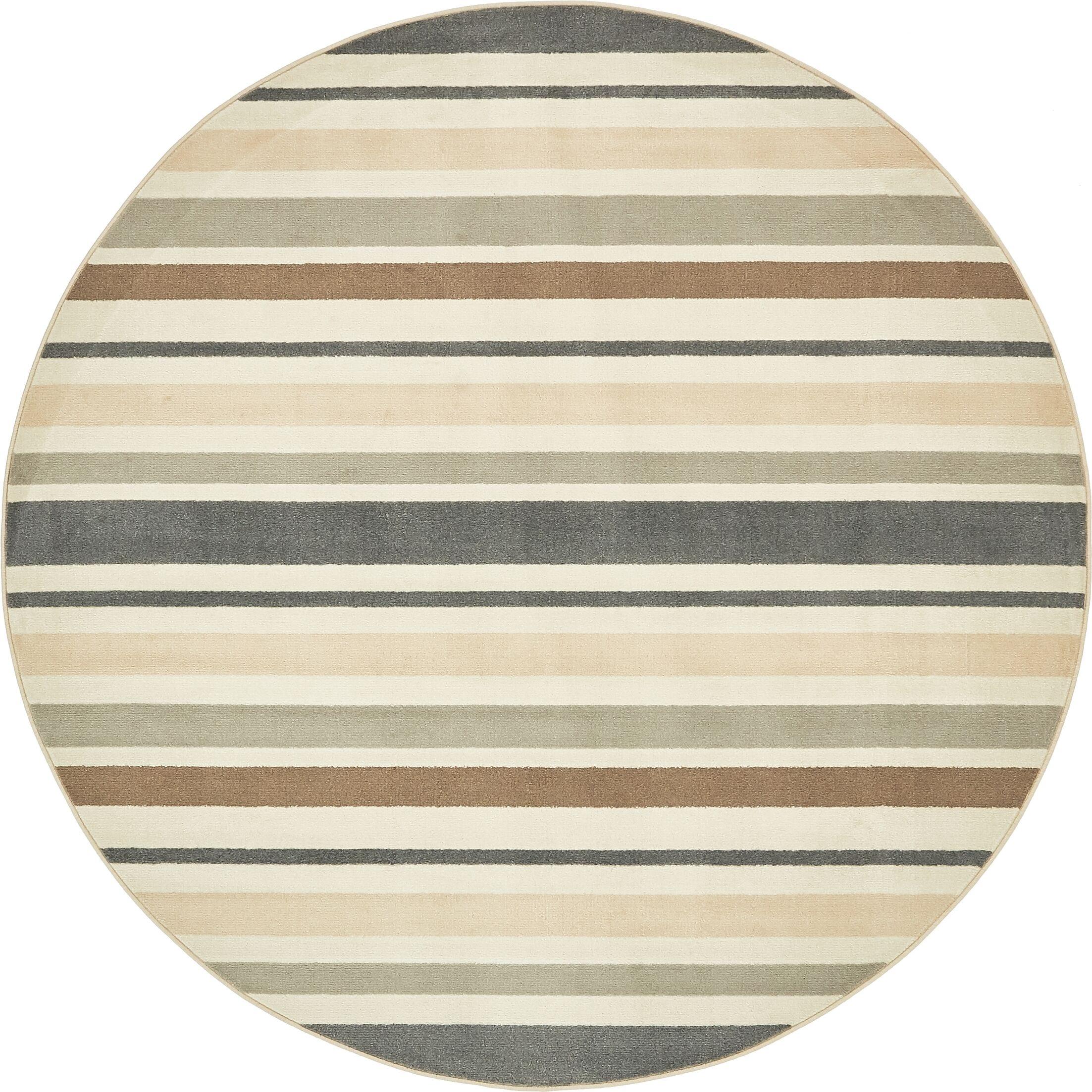 Giovanni Beige/Brown Area Rug Rug Size: Round 8'