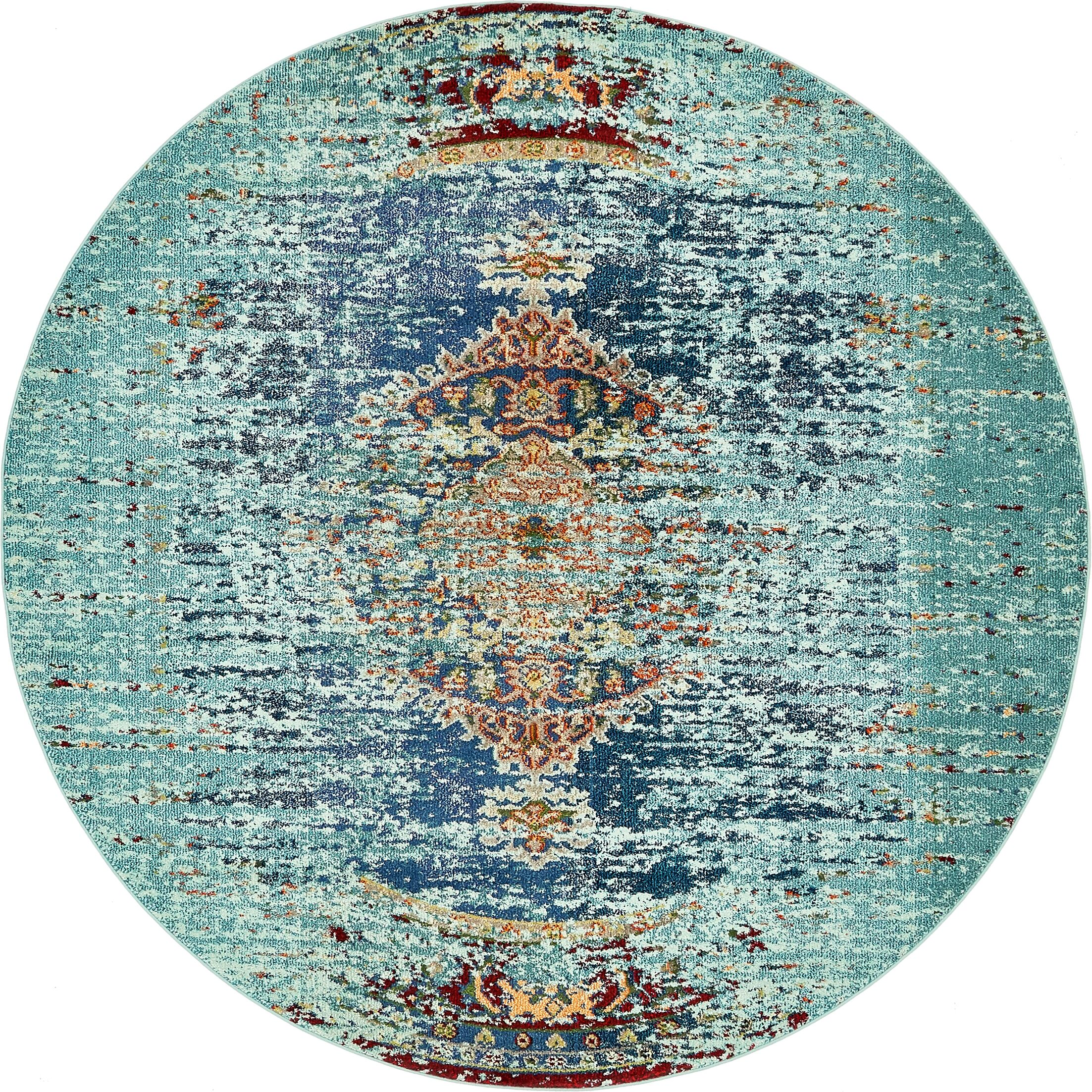 Glenn Blue Area Rug Rug Size: Round 8'