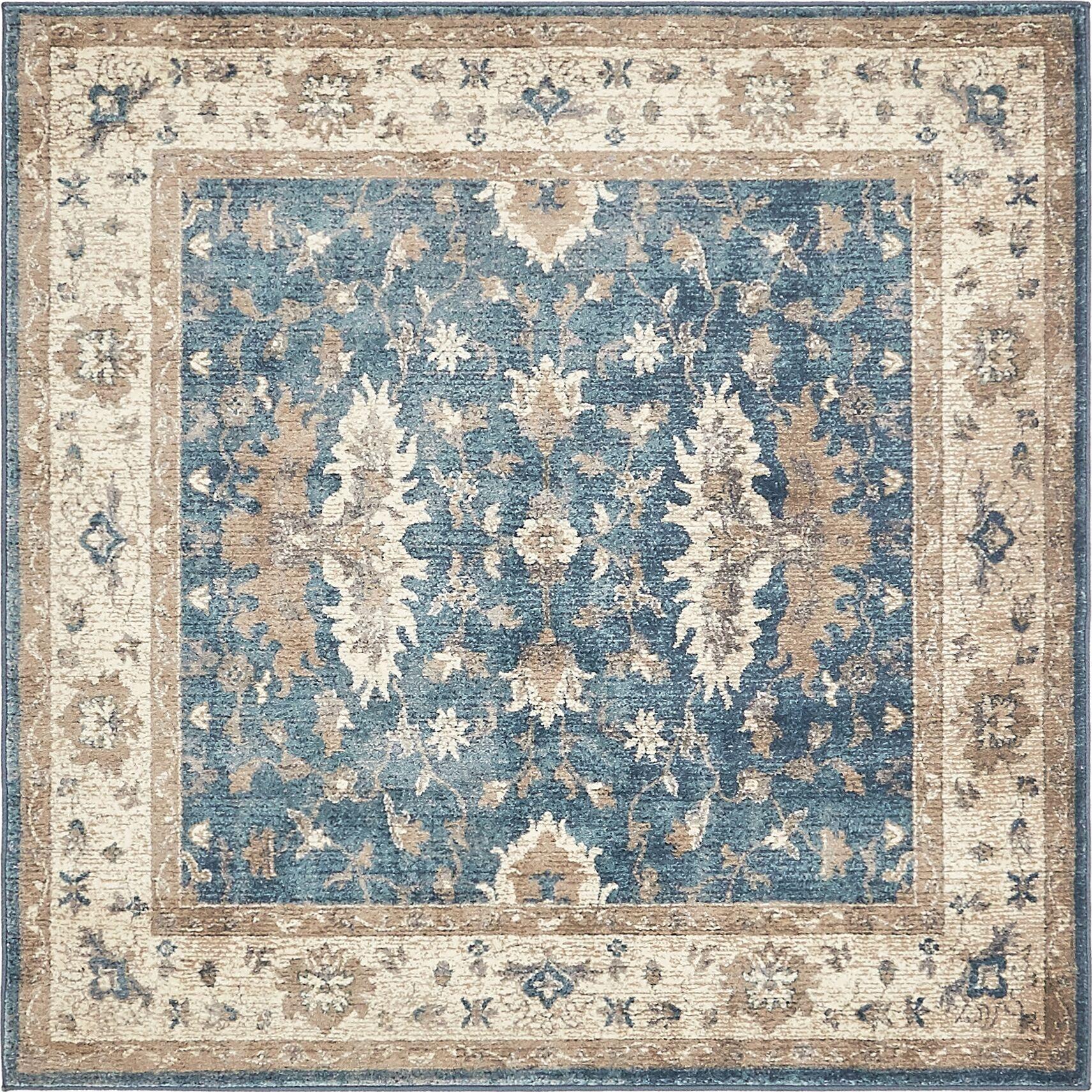 KerensaLight Blue Area Rug Rug Size: Square 5'