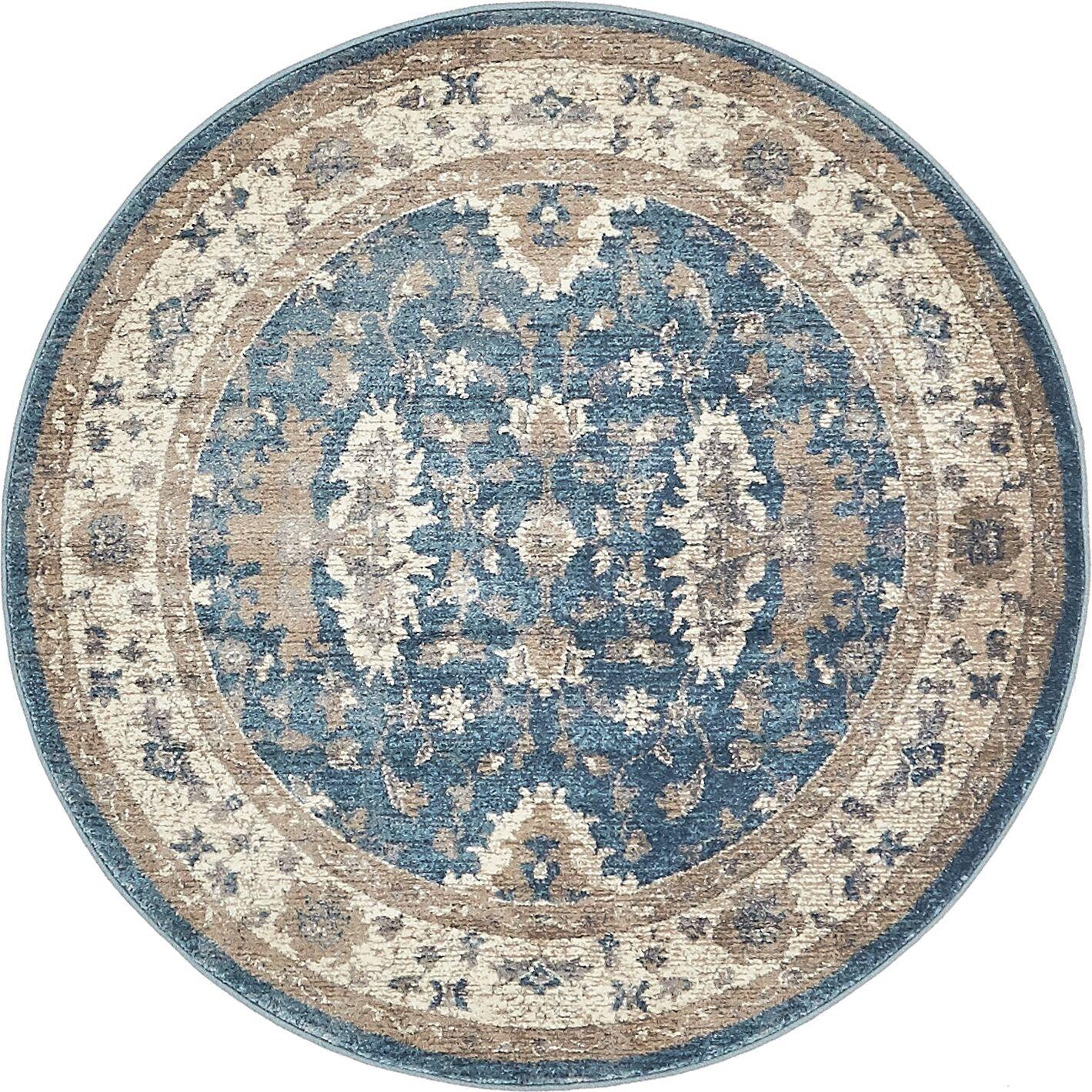 KerensaLight Blue Area Rug Rug Size: Round 4'
