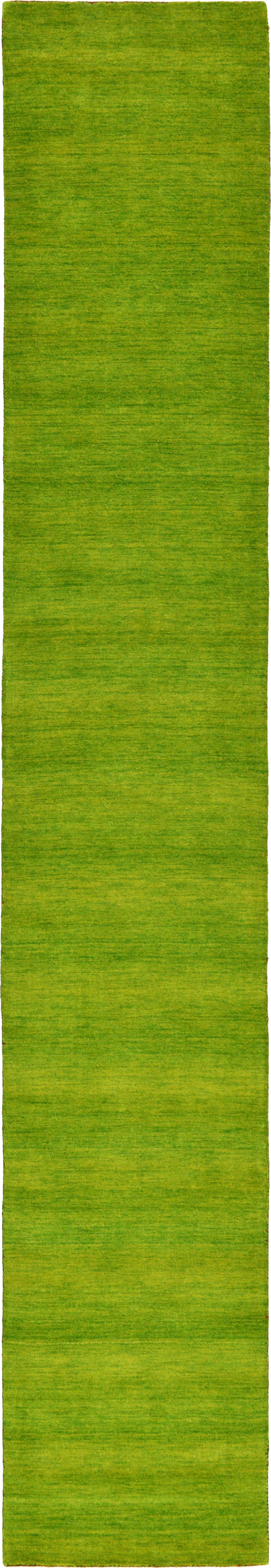 Taul Hand-Knotted Wool Green Area Rug Rug Size: 2' 7 x 16' 5