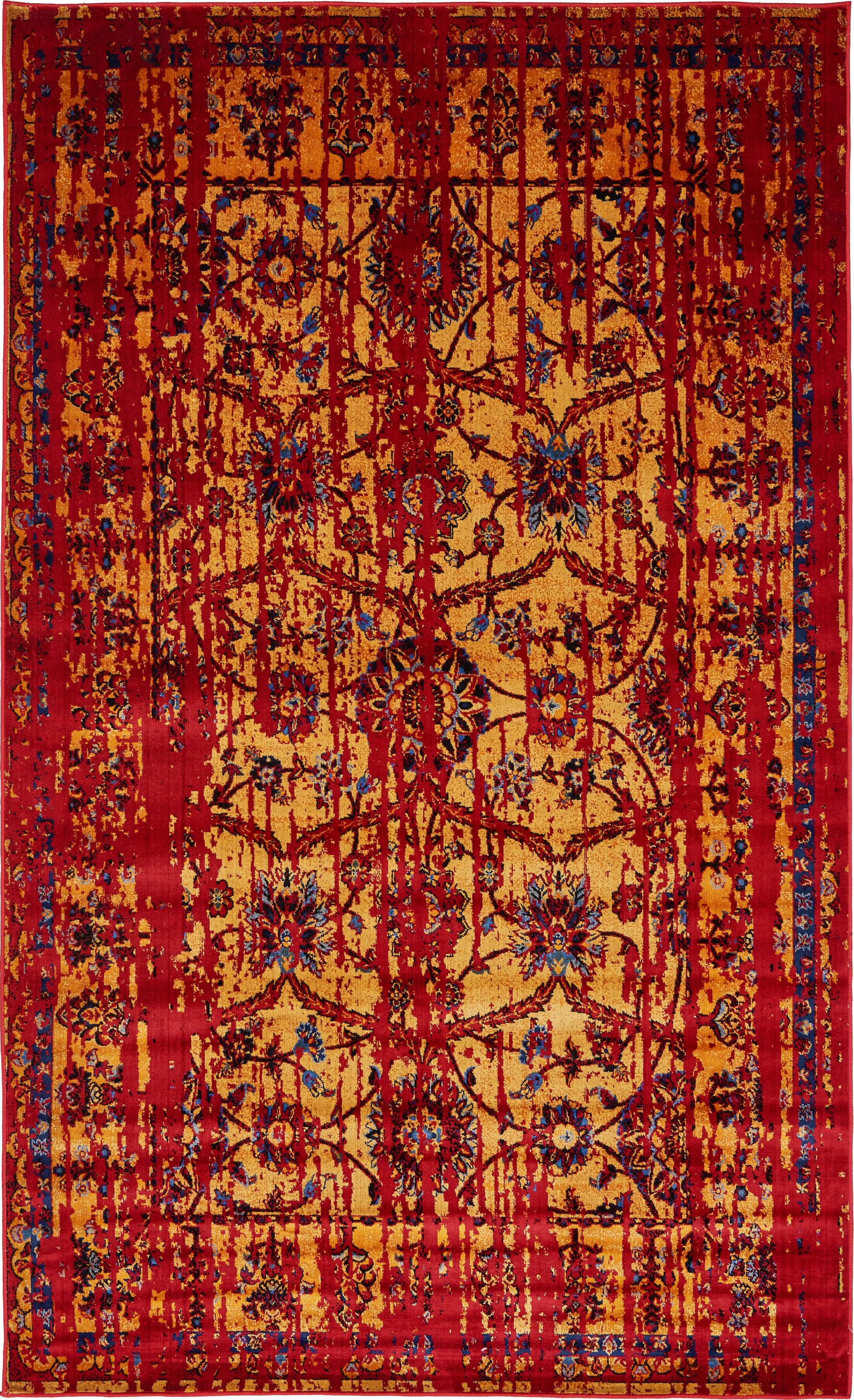 Figueroa Gold/Red Area Rug Rug Size: Rectangle 5' x 8'