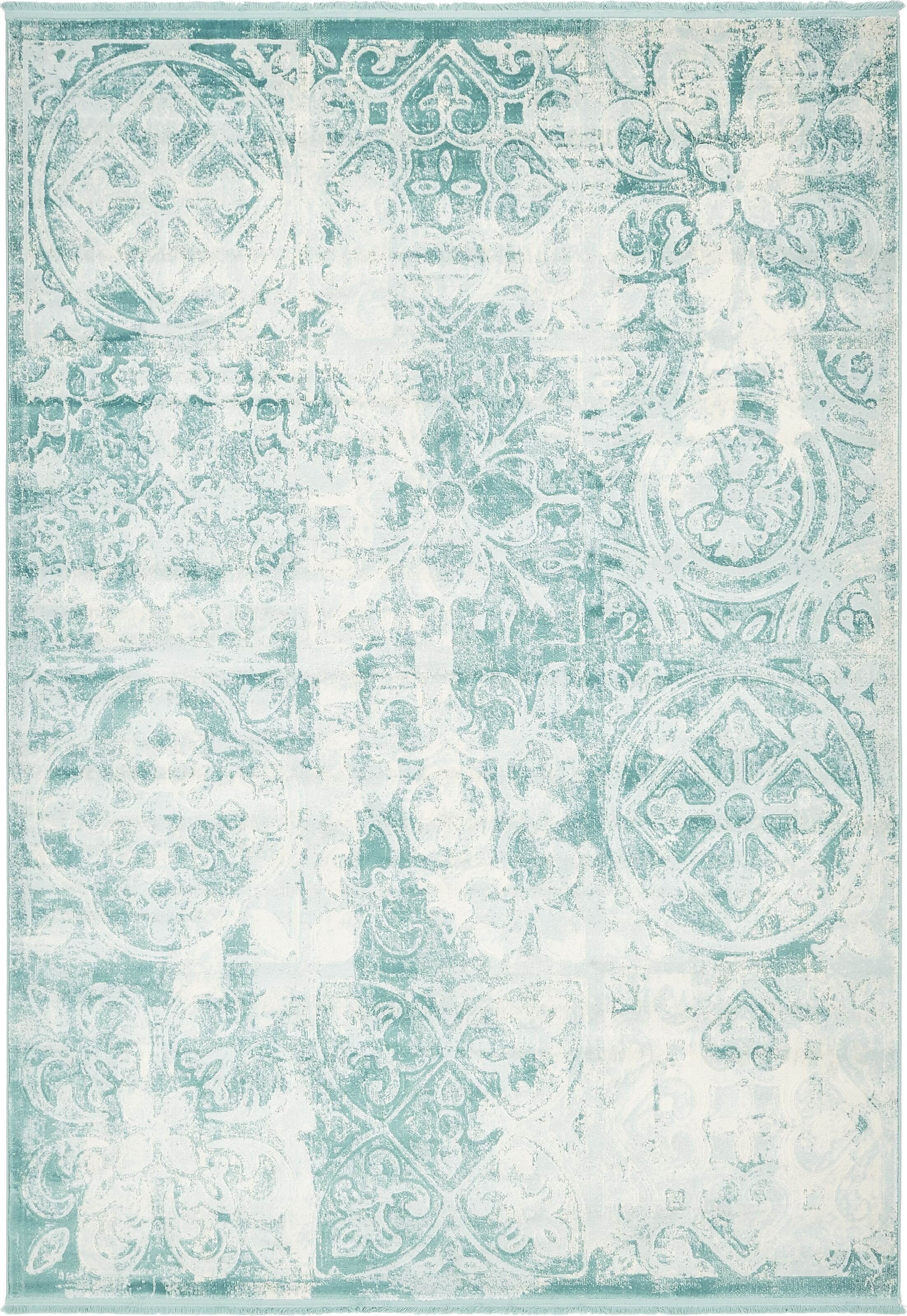 Jacobson Floral Blue Area Rug Rug Size: Rectangle 7' x 10'