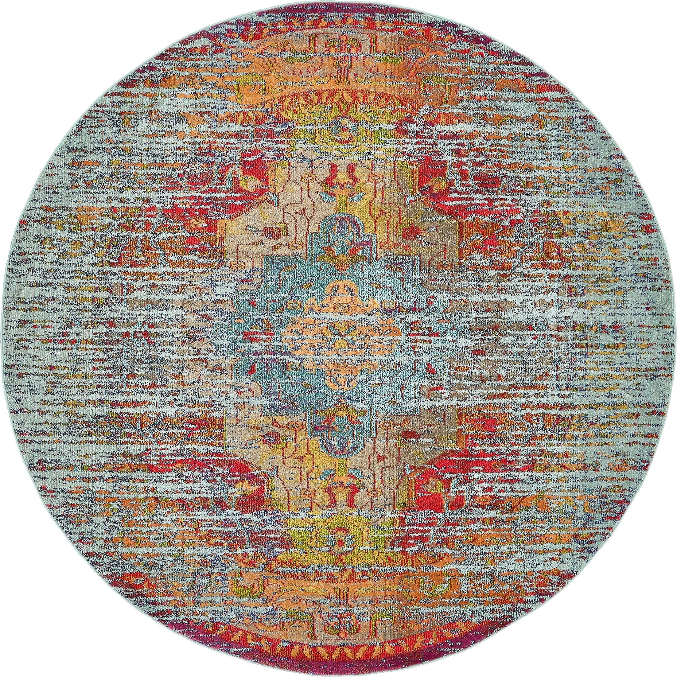 Newton Tibetan Blue Area Rug Rug Size: Round 8'