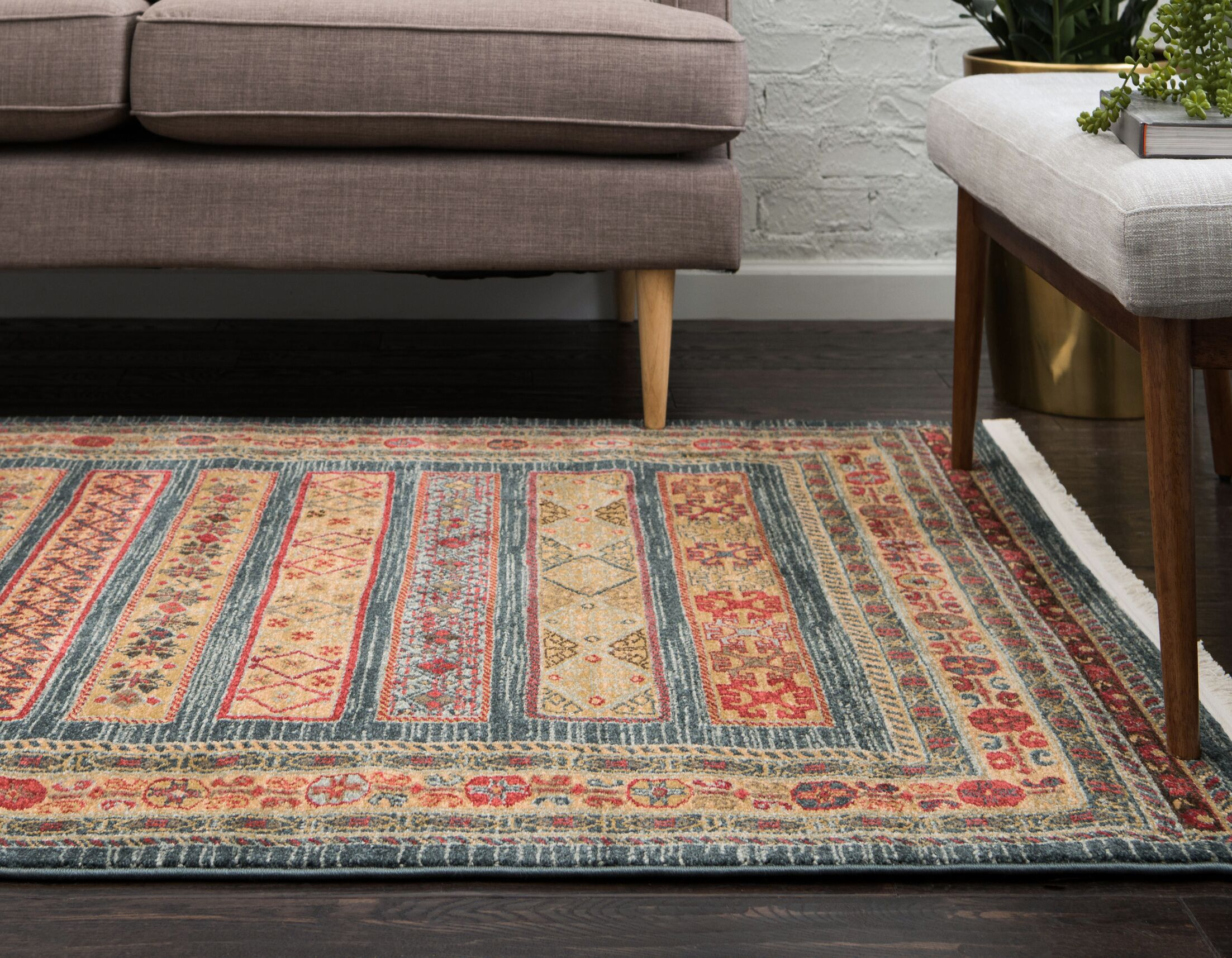 Foret Noire Machine Woven Blue Area Rug Rug Size: Rectangle 5.1' x 8'