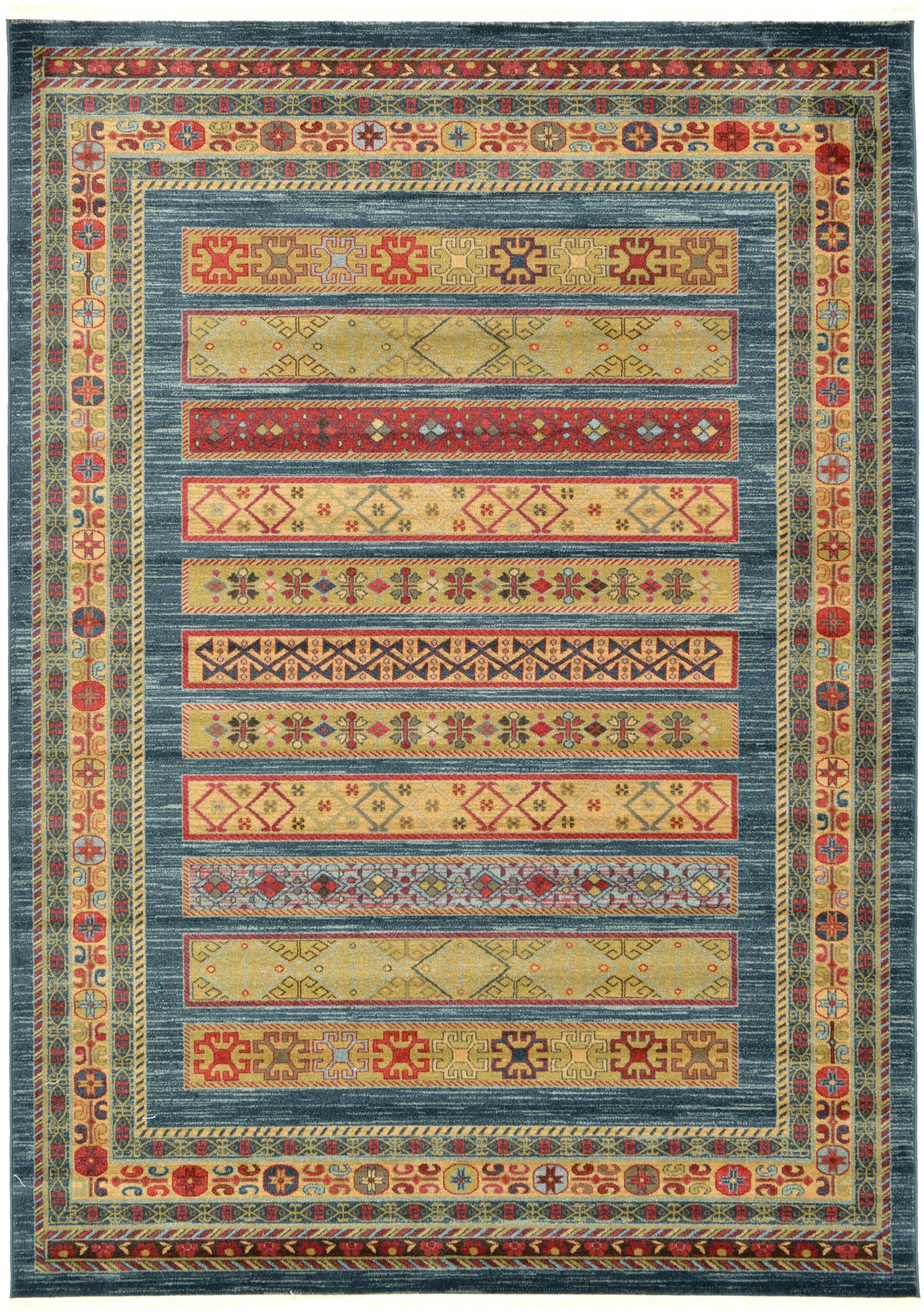 Foret Noire Machine Woven Blue Area Rug Rug Size: Rectangle 7' x 10'