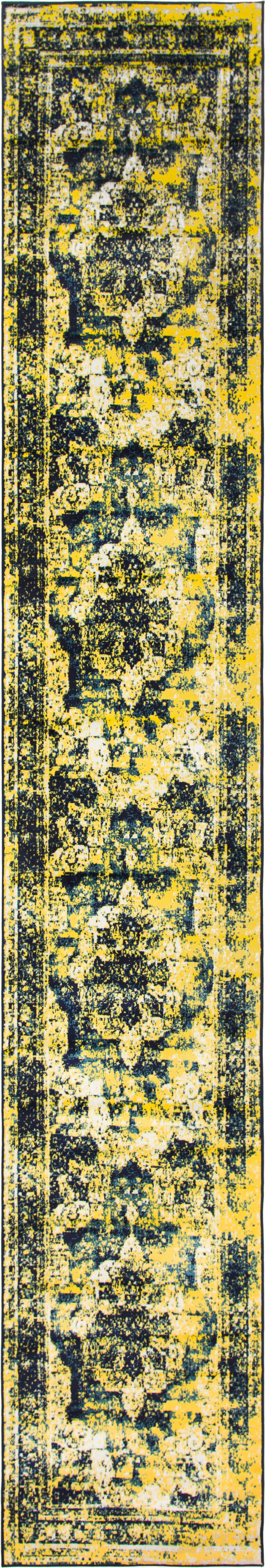 Brandt Navy Blue/ Yellow Area Rug Rug Size: Runner 3'3