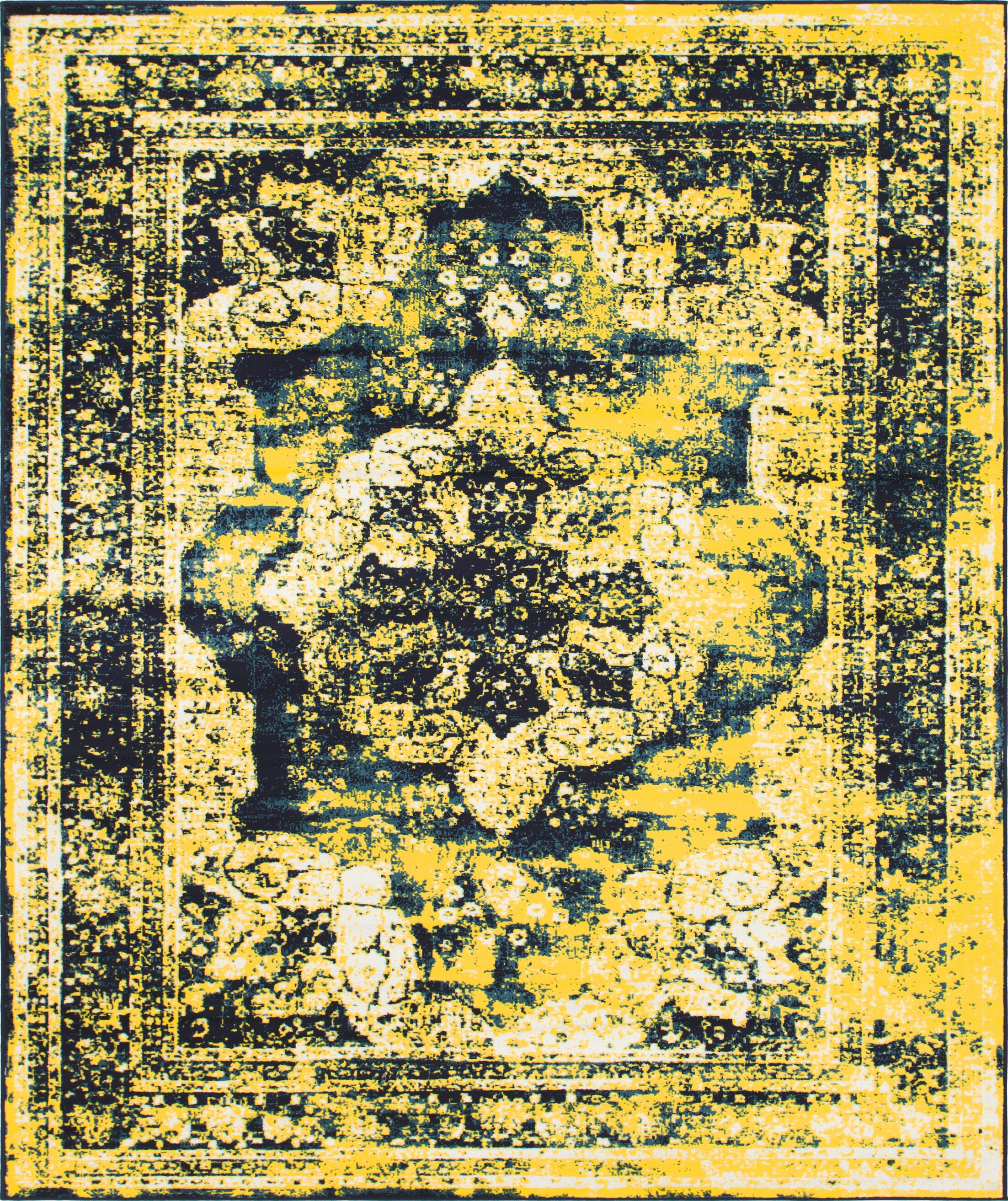 Brandt Navy Blue/ Yellow Area Rug Rug Size: Rectangle 8' x 10'